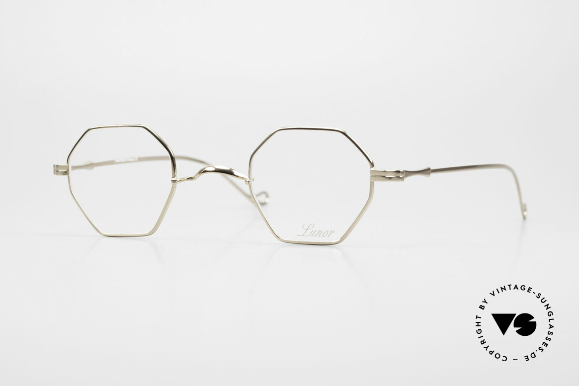 """Lunor II 11 Square Panto Frame Gold Plated, Lunor: shortcut for French """"Lunette d'Or"""" (gold glasses), Made for Men and Women"""