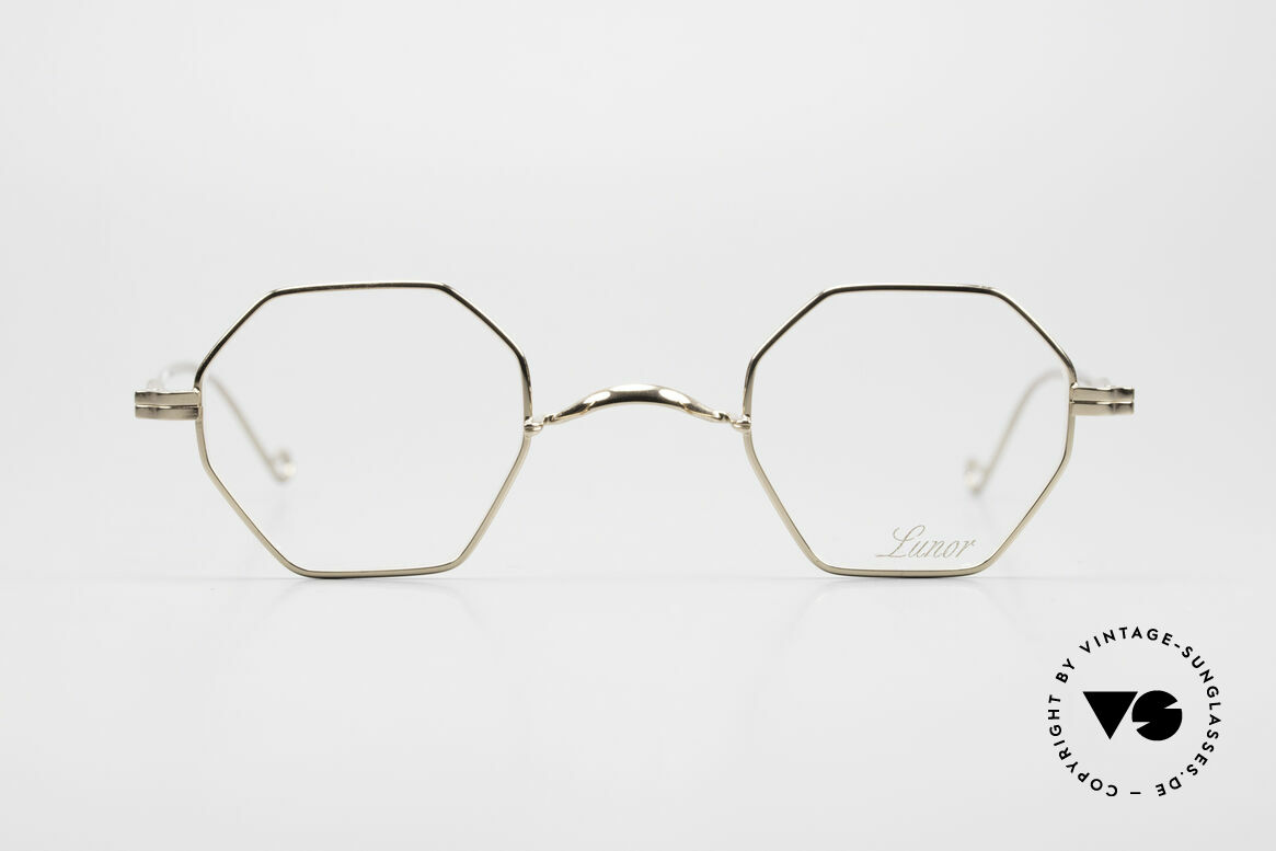 Lunor II 11 Square Panto Frame Gold Plated, traditional German brand; quality handmade in Germany, Made for Men and Women