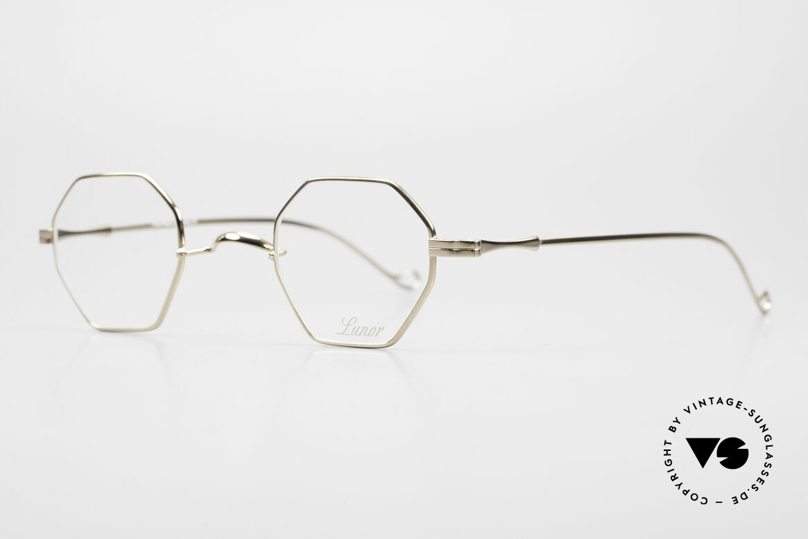 """Lunor II 11 Square Panto Frame Gold Plated, well-known for the """"W-bridge"""" & the plain frame designs, Made for Men and Women"""
