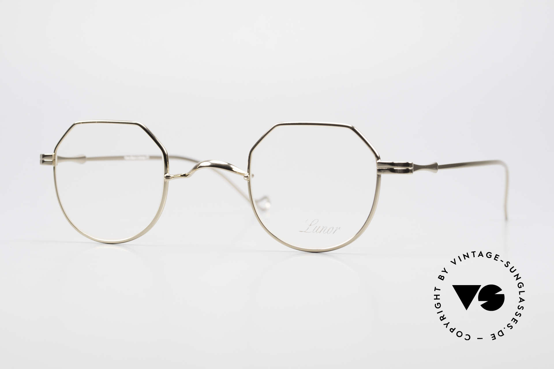 """Lunor II 18 Hybrid Panto Frame Gold Plated, Lunor: shortcut for French """"Lunette d'Or"""" (gold glasses), Made for Men and Women"""
