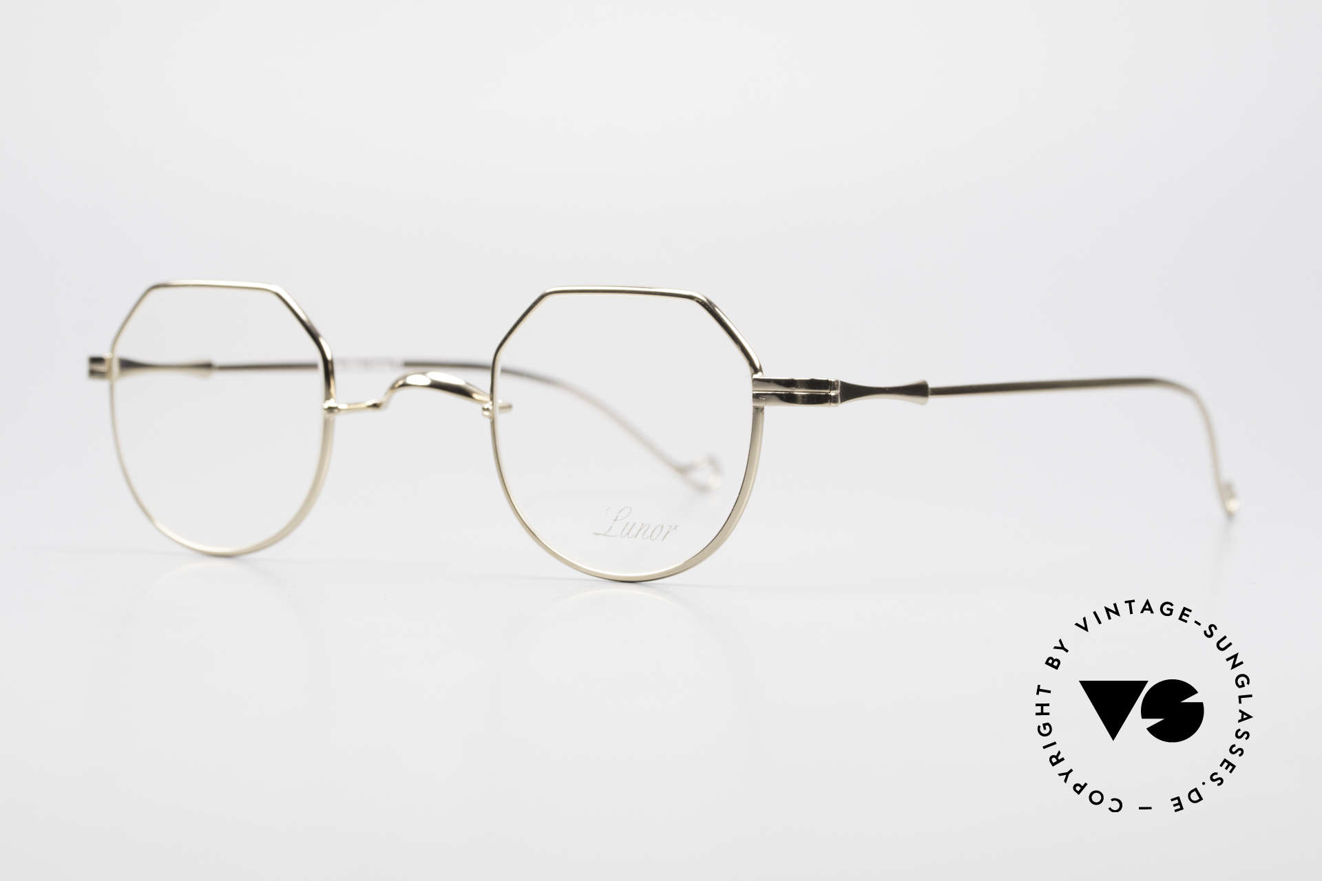 """Lunor II 18 Hybrid Panto Frame Gold Plated, well-known for the """"W-bridge"""" & the plain frame designs, Made for Men and Women"""