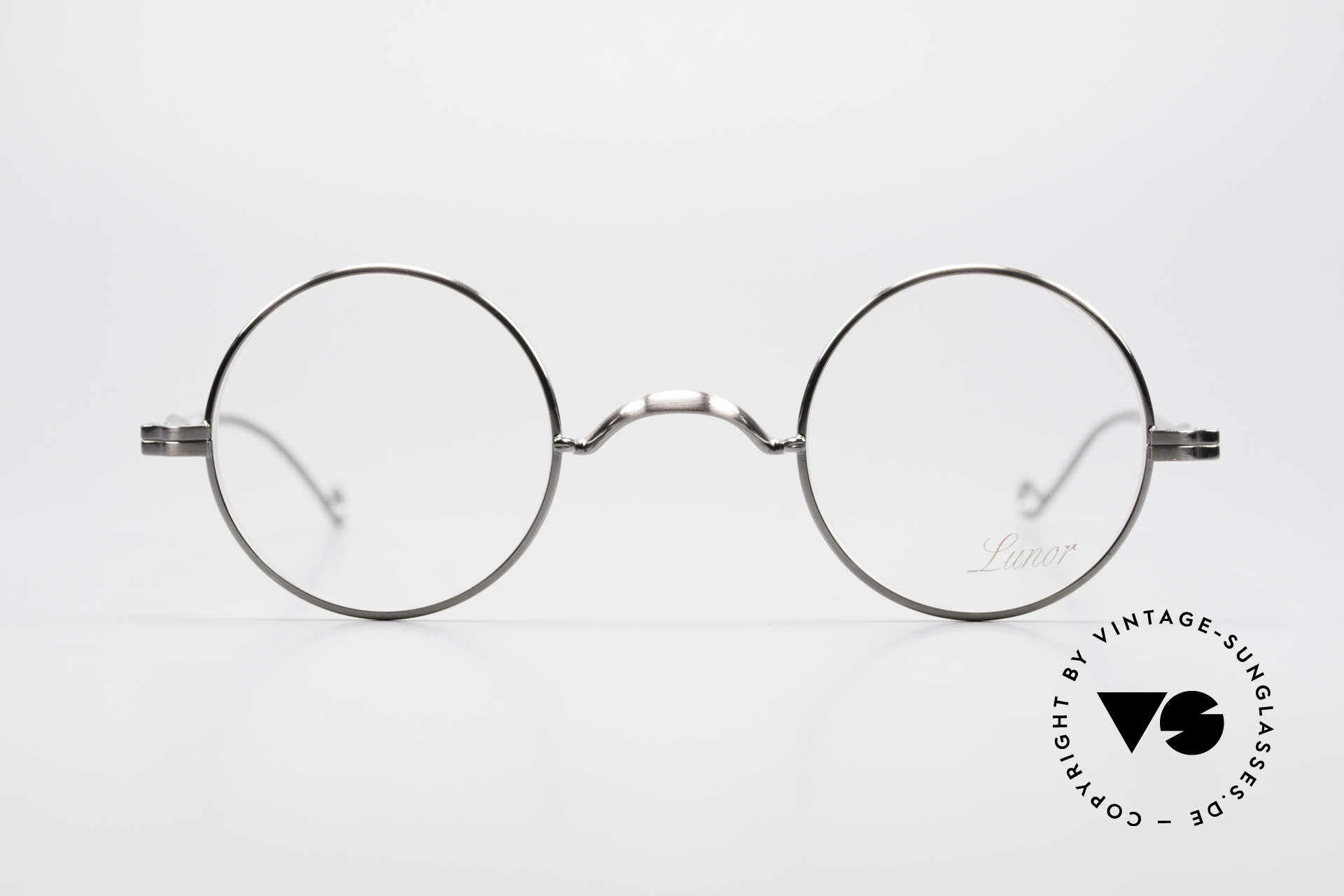 Lunor II 12 Small Round Luxury Glasses, traditional German brand; quality handmade in Germany, Made for Men and Women