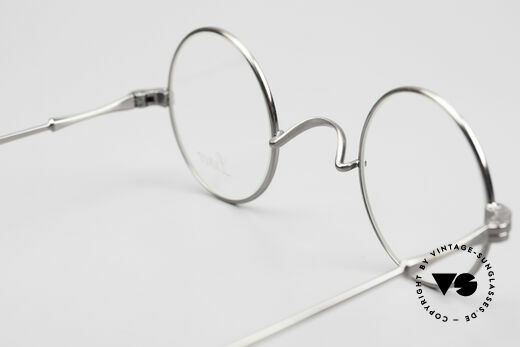 Lunor II 12 Small Round Luxury Glasses, classic round eyewear design; ANTIQUE SILVER finish, Made for Men and Women
