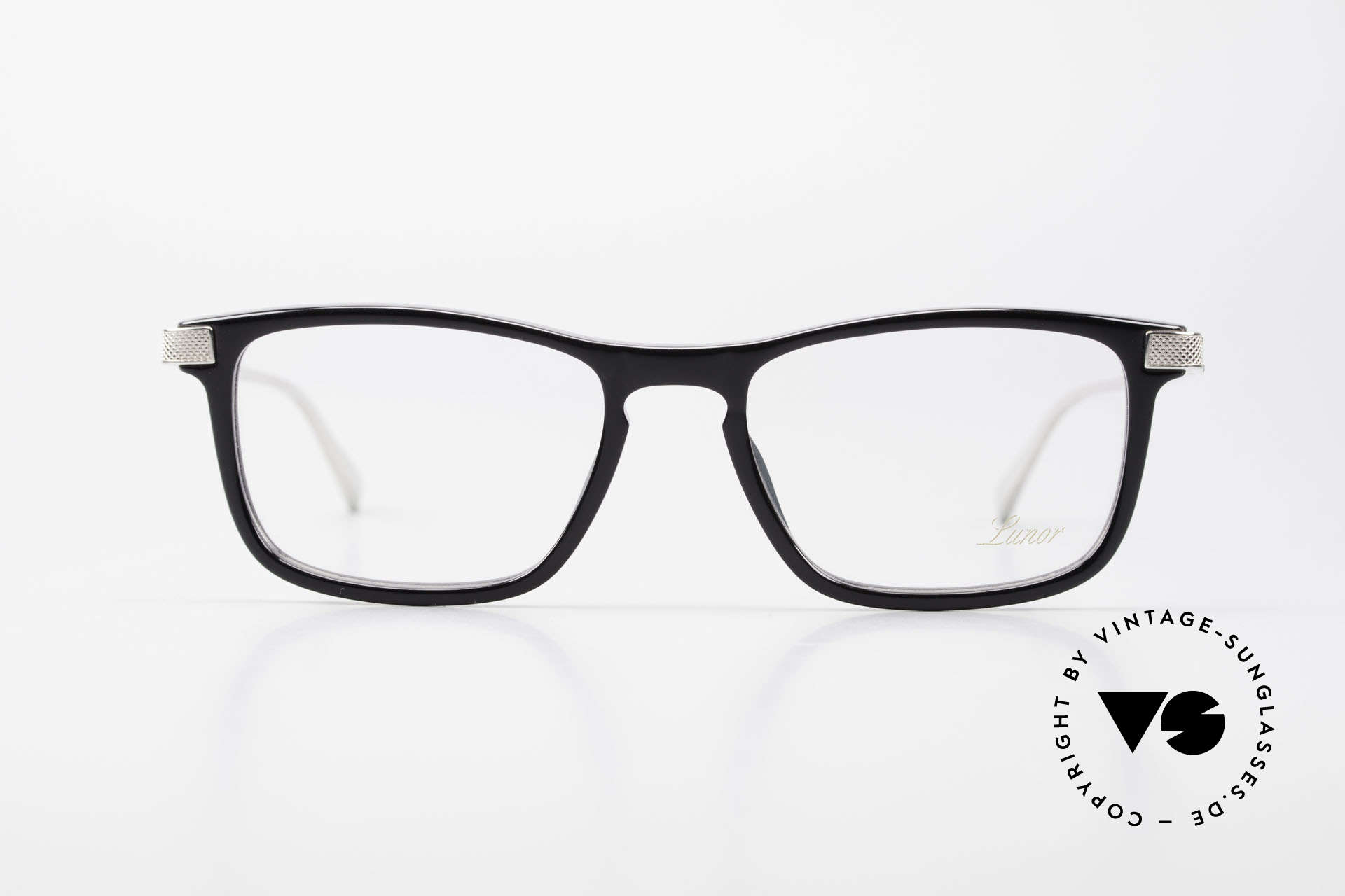 Lunor Imperial Anatomic Vintage Titanium Frame 2012, black acetate front with refined titanium temples, top!, Made for Men and Women