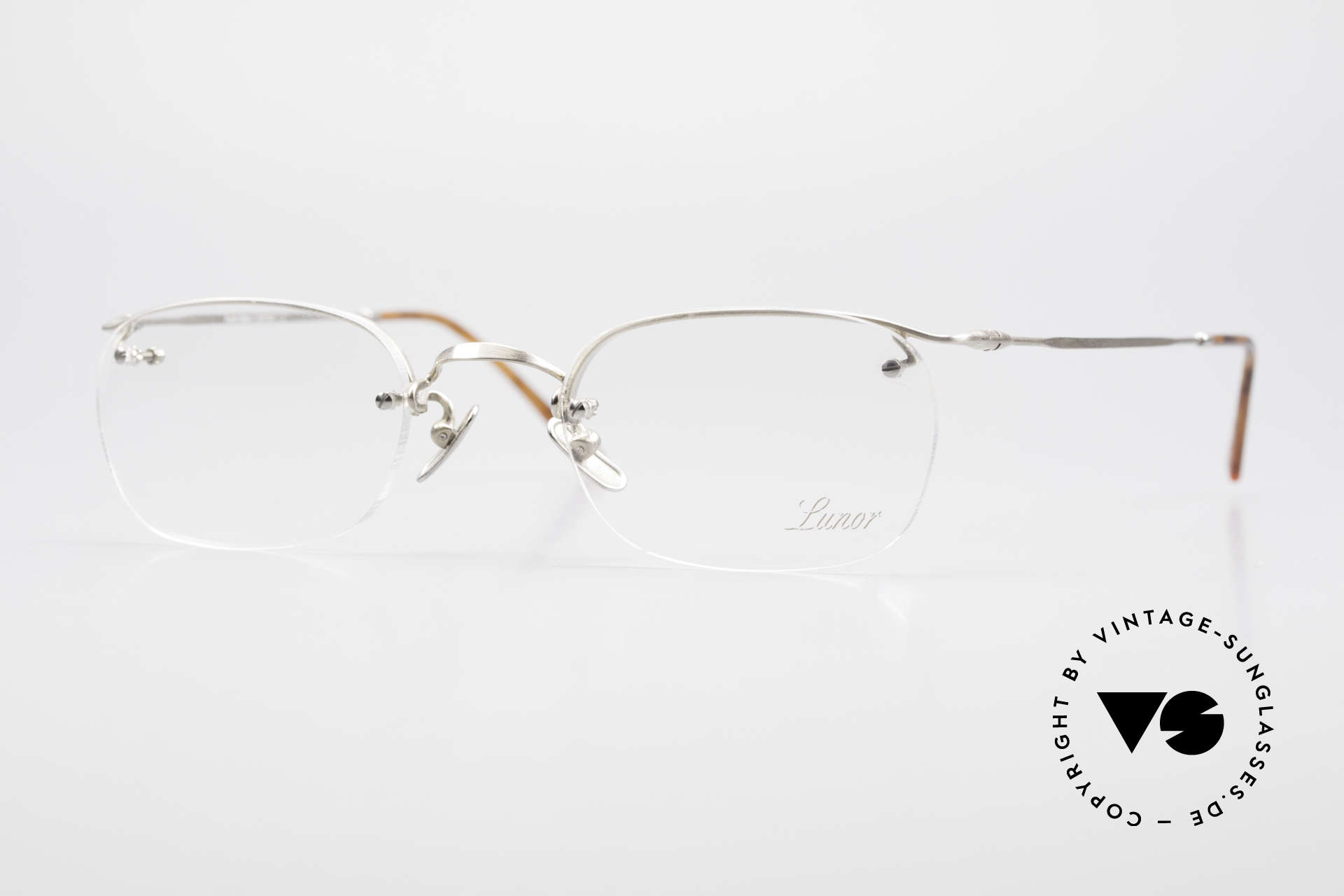 "Lunor Classic One Semi Rimless Vintage Glasses, LUNOR: shortcut for French ""Lunette d'Or"" (gold glasses), Made for Men and Women"