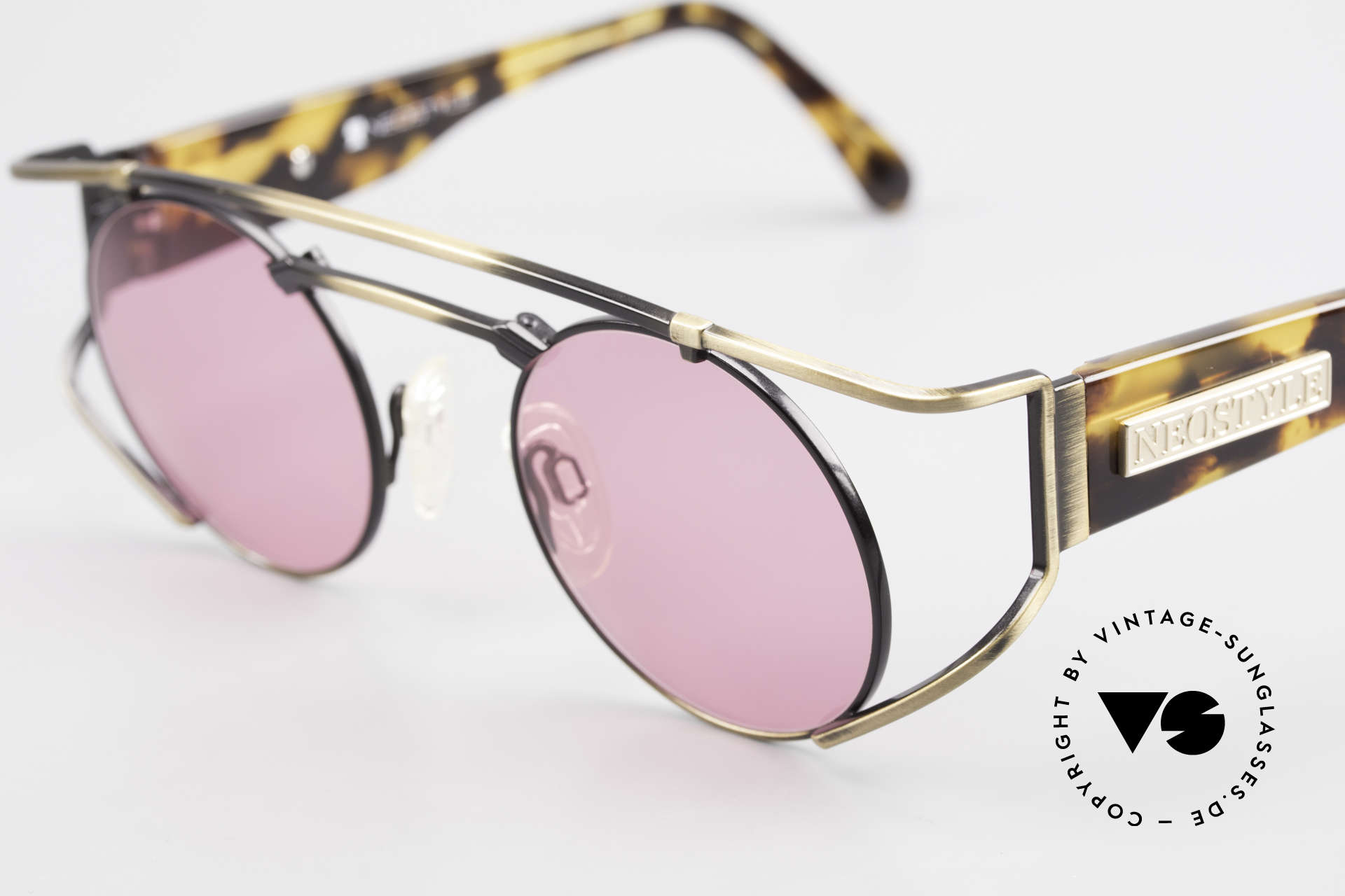 Neostyle Superstar 1 Steampunk Sunglasses Pink, metal parts in a kind of 'antique gold / burnt gold', Made for Men and Women