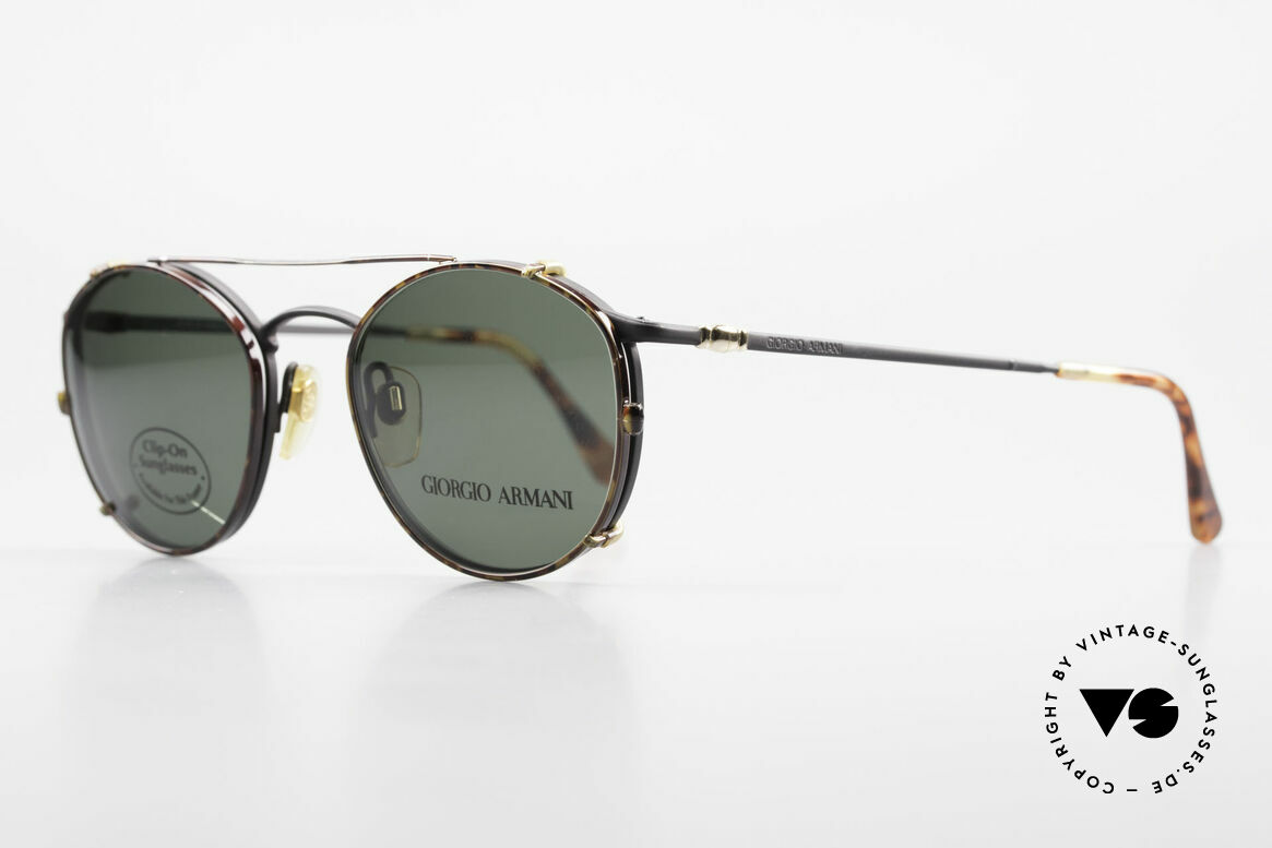 Giorgio Armani 132 Clip On Panto Eyeglasses 90's, classic black frame with a 'chestnut brown' Clip-On, Made for Men