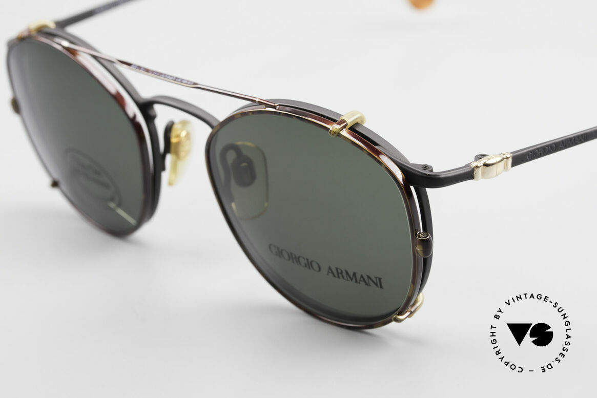 Giorgio Armani 132 Clip On Panto Eyeglasses 90's, can be used as sunglasses and prescription eyewear, Made for Men