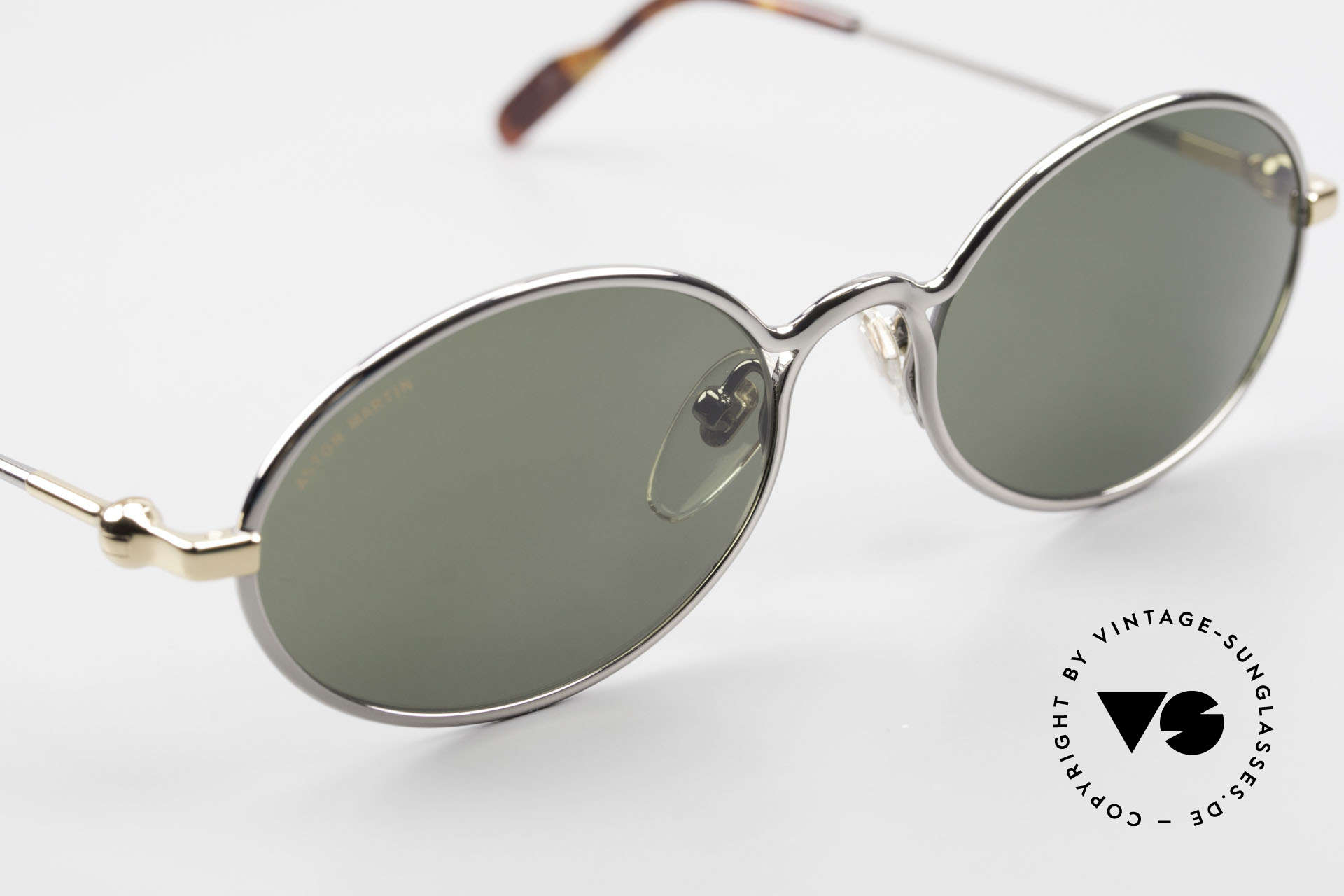 Aston Martin AM13 Oval Shades James Bond Style, non-reflection mineral lenses with Aston Martin lettering, Made for Men