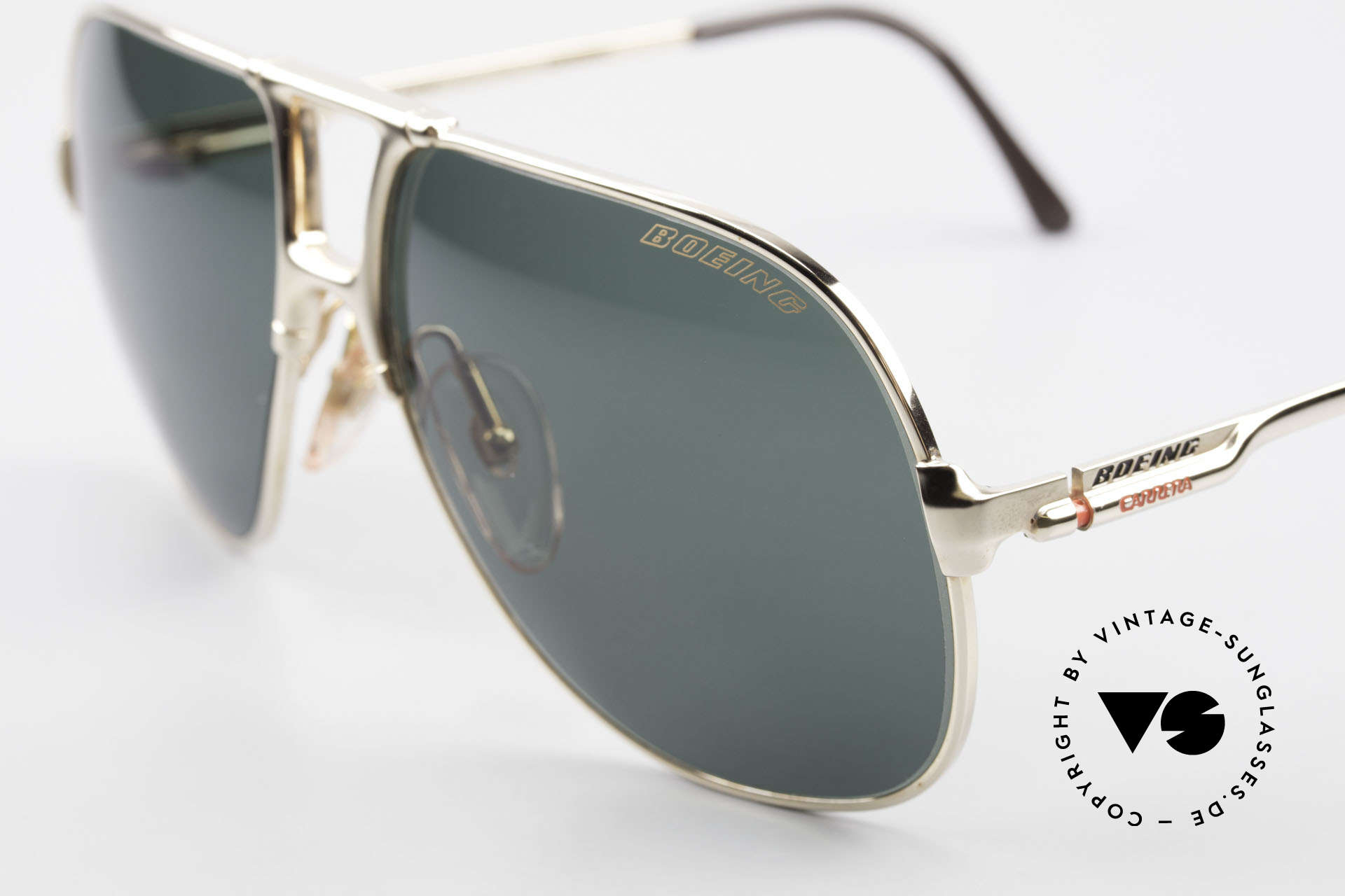 Boeing 5700 Large Old 80's Pilots Shades, LARGE size 62/14; gold-plated & with serial number, Made for Men