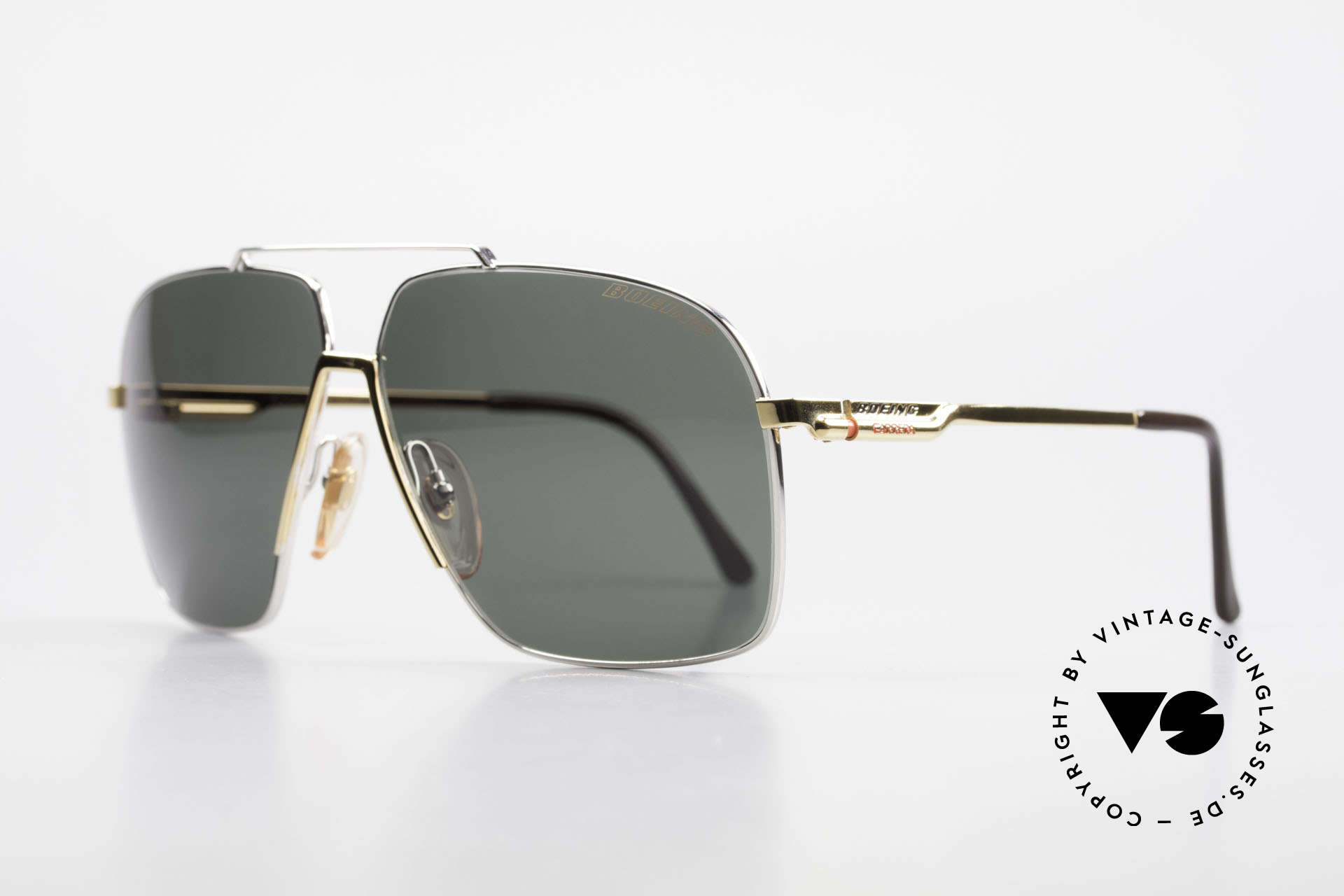 Boeing 5704 Original Old 80's Pilots Shades, integrated shock-absorbers and self-adjusting pads, Made for Men