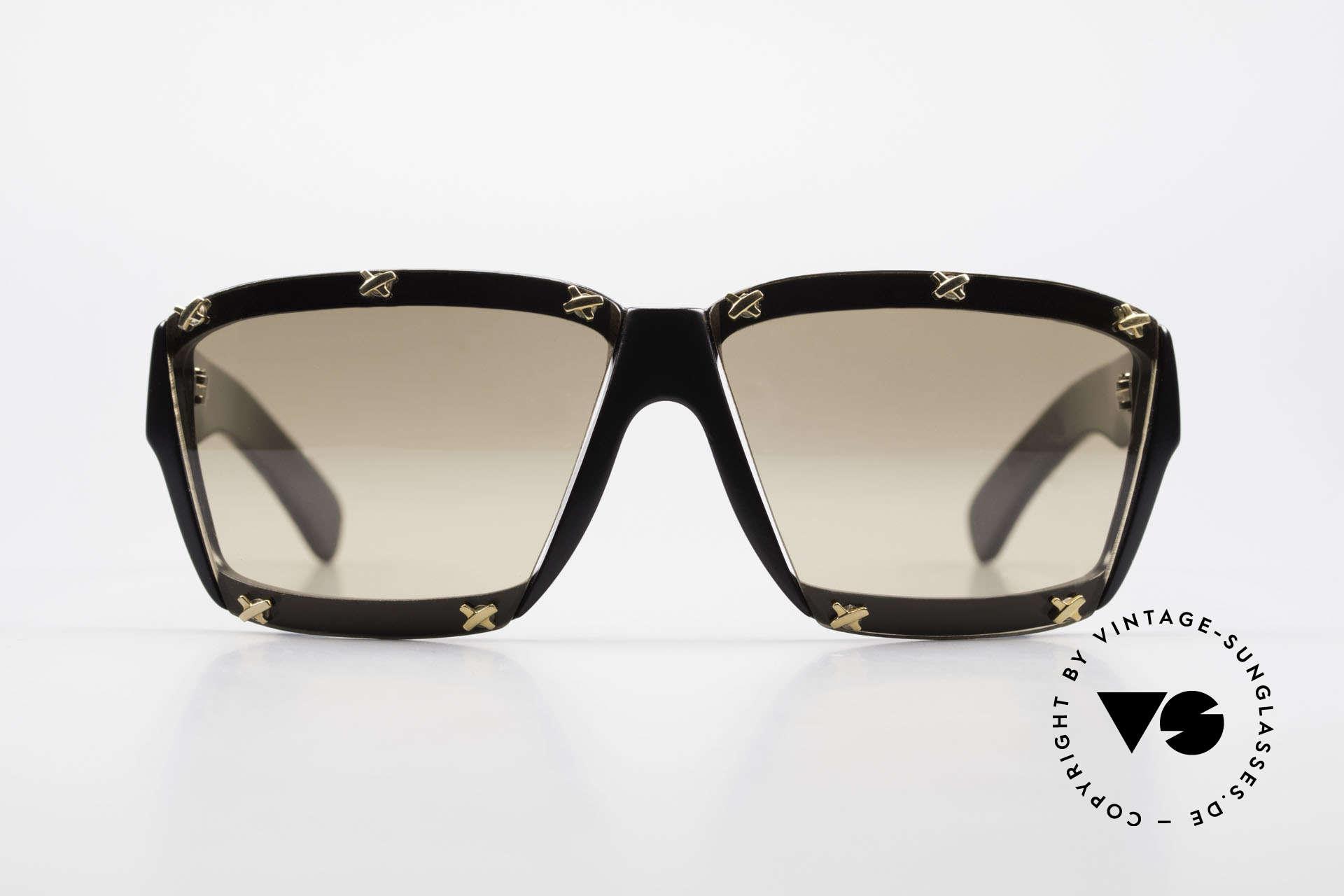 Paloma Picasso 3702 No Retro Sunglasses True 90's, black frame with light mirrored sun lenses; 100% UV, Made for Women