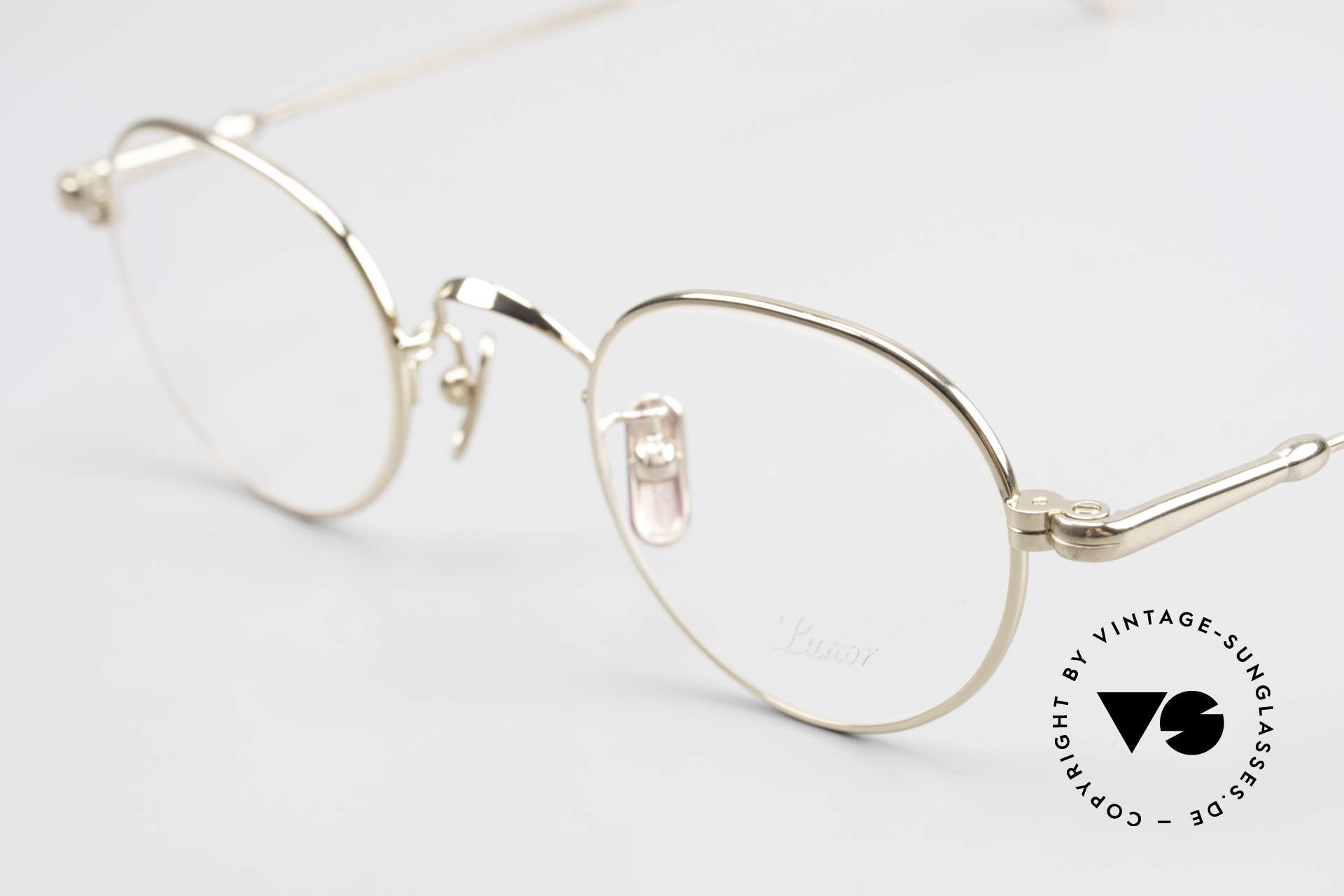 Lunor V 107 Panto Eyeglasses Gold Plated, from the 2011's collection, but in a well-known quality, Made for Men