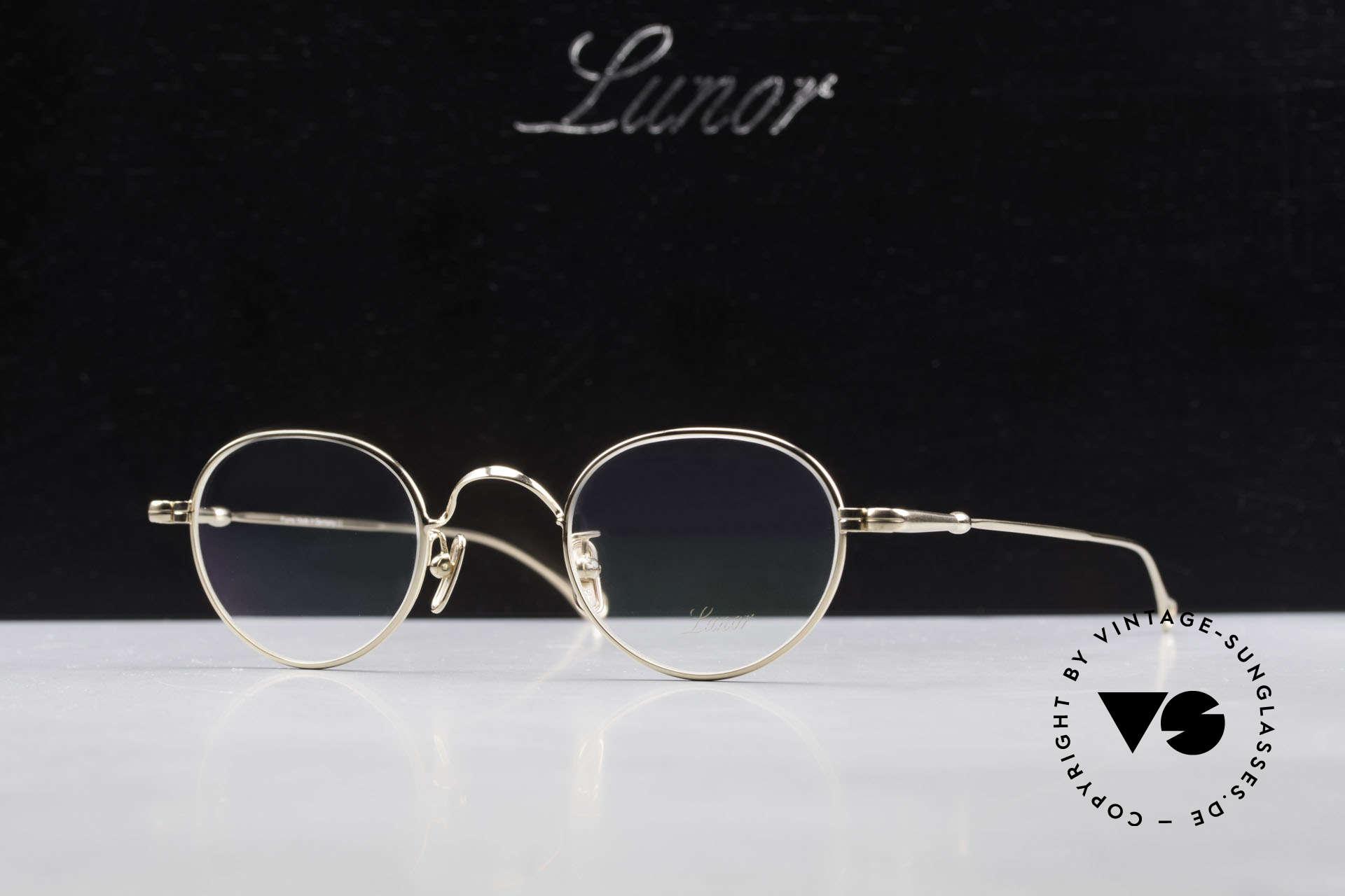 Lunor V 107 Panto Eyeglasses Gold Plated, Size: medium, Made for Men