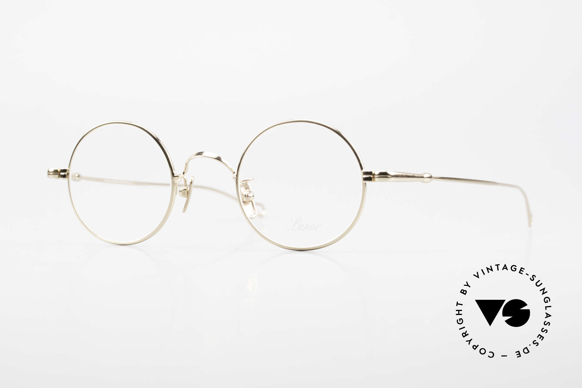 Lunor V 110 Lunor Round Glasses GP Gold, round Lunor metal glasses with pads made of pure titan, Made for Men and Women