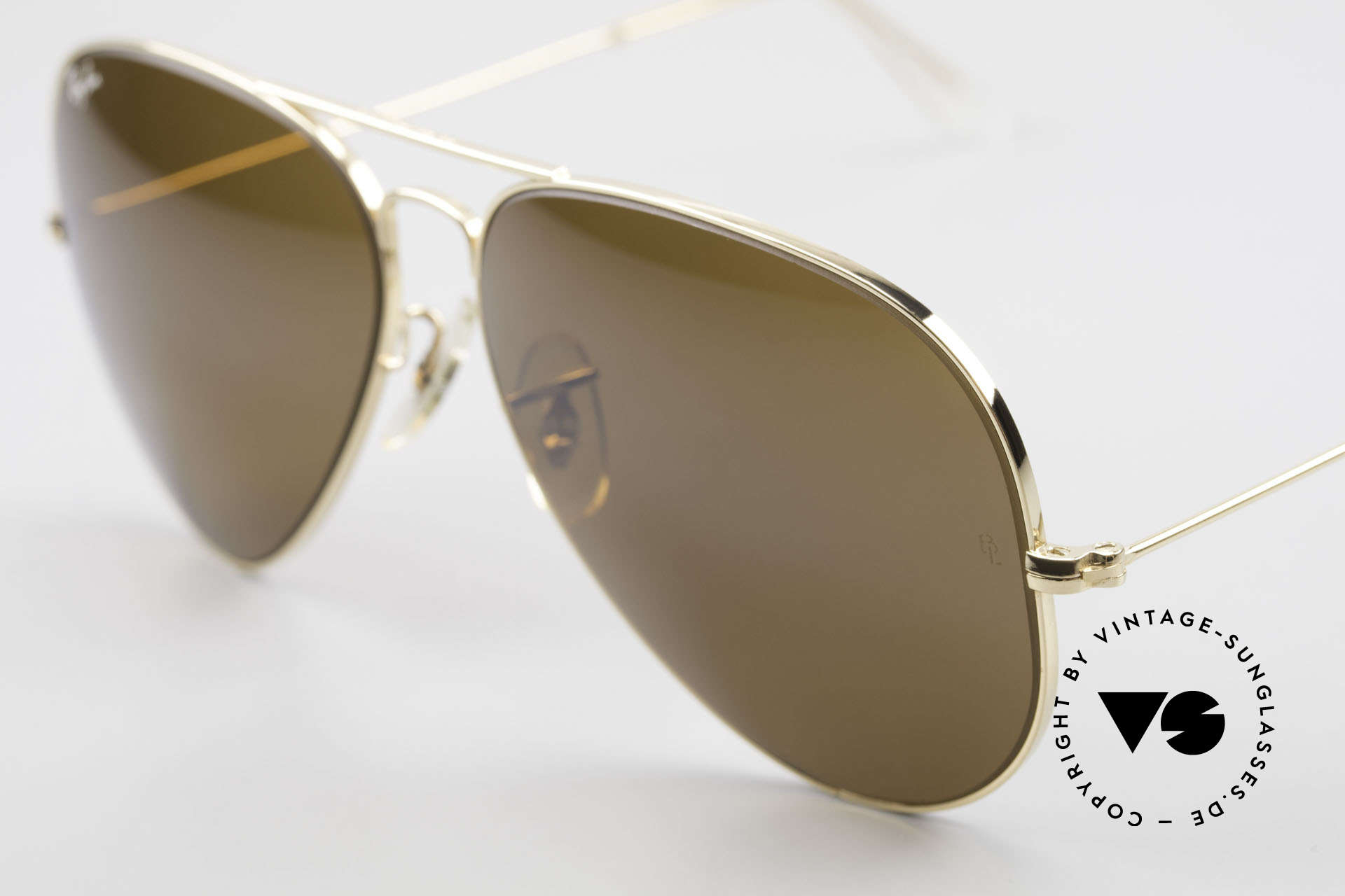 Ray Ban Large Metal II Old Ray-Ban B&L USA Shades, gold frame with mineral lenses in B15 brown solid, Made for Men