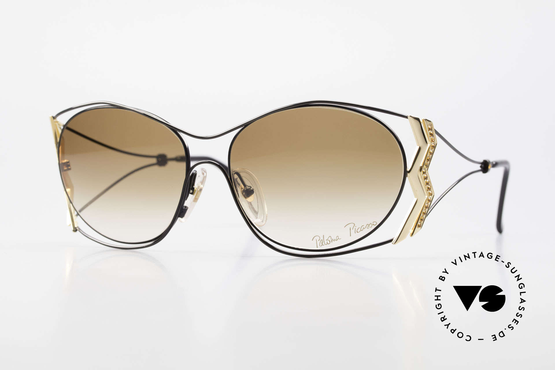 Paloma Picasso 3707 90s Ladies Shades Rhinestones, Picasso vintage sunglasses with TOPAZ rhinestones, Made for Women