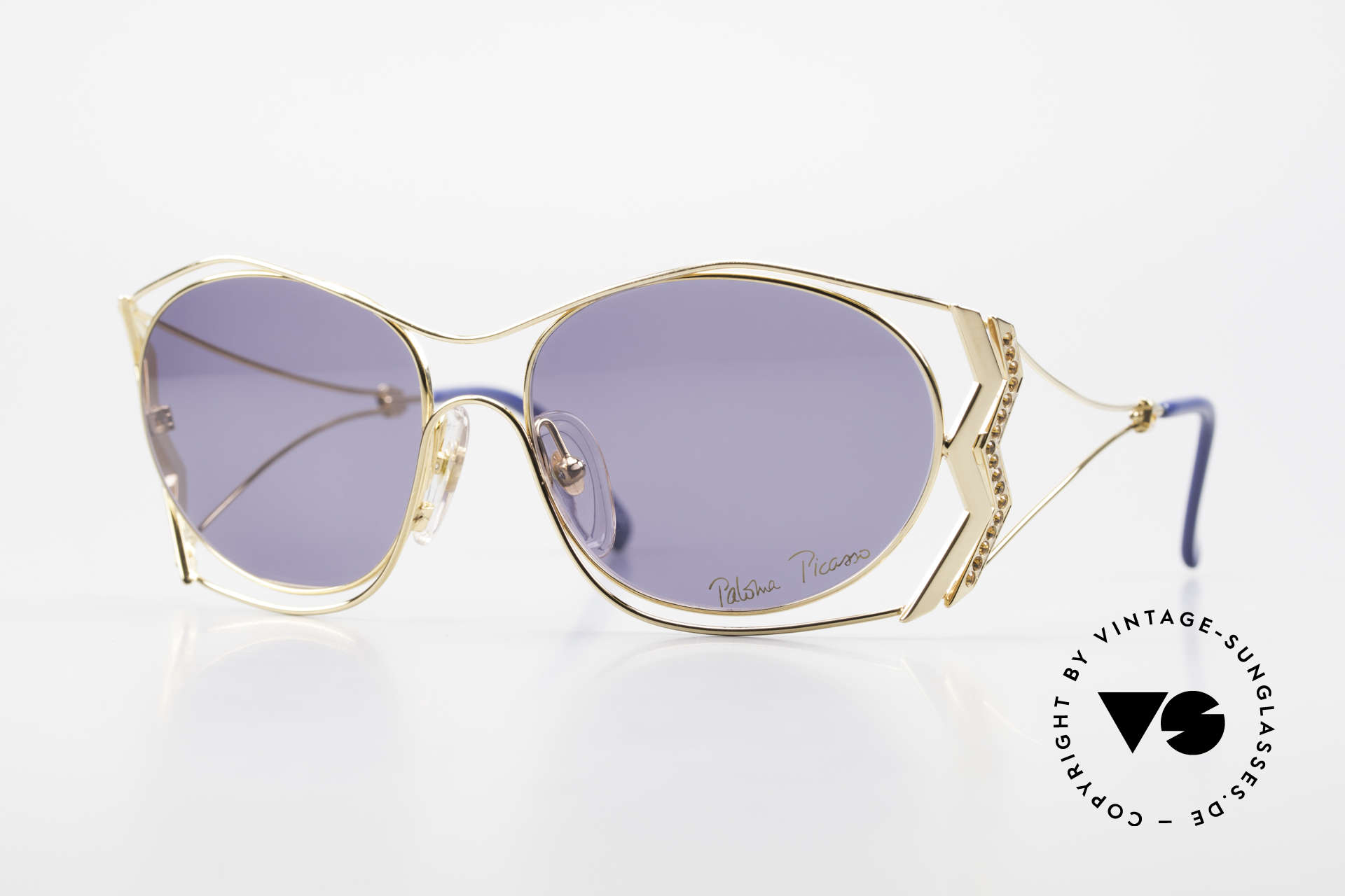 Paloma Picasso 3707 90's Sunglasses Gold-Plated, Picasso 90's sunglasses; gold-plated and TOPAZ gems, Made for Women