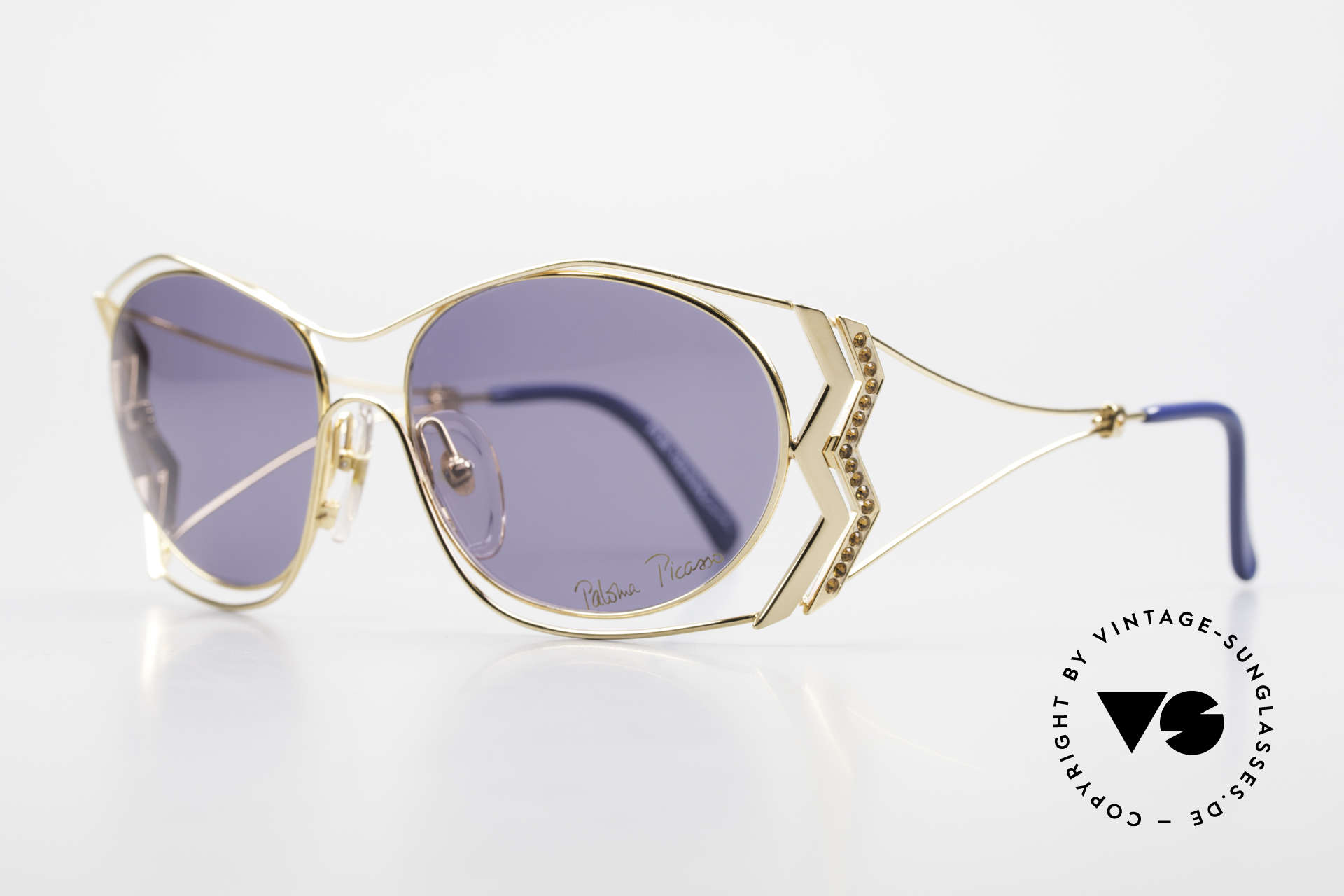 Paloma Picasso 3707 90's Sunglasses Gold-Plated, probably the most beautiful vintage model by Picasso, Made for Women