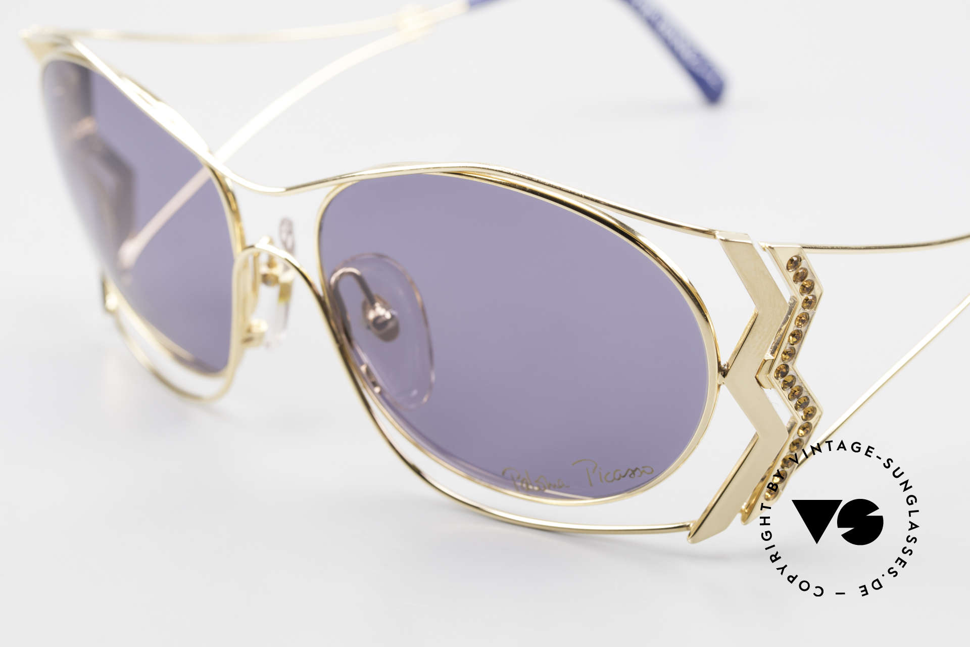 Paloma Picasso 3707 90's Sunglasses Gold-Plated, unworn model, NOS (with original case by P. Picasso), Made for Women