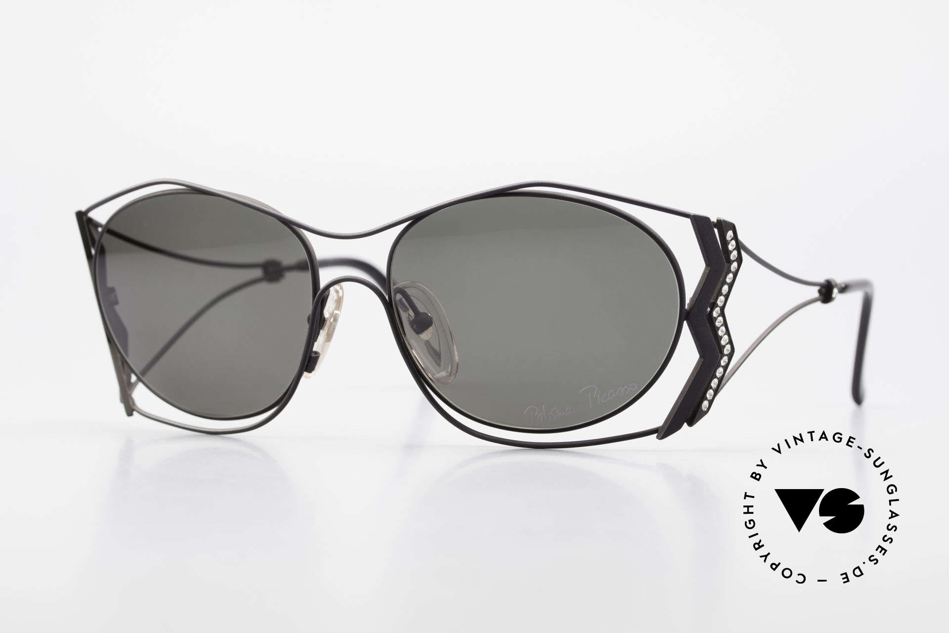 Paloma Picasso 3707 90s Shades Crystal Rhinestones, Picasso vintage sunglasses with Crystal rhinestones, Made for Women