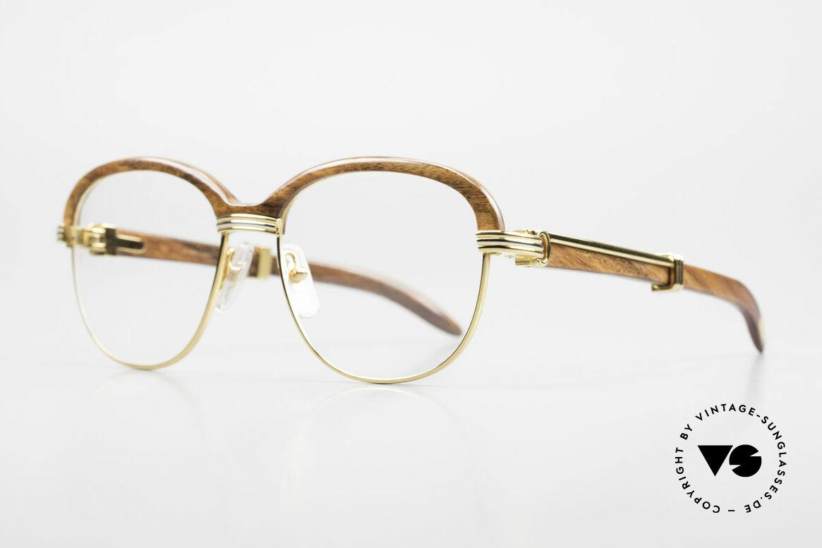 Cartier Malmaison Diego Maradona Wood Glasses, precious CARTIER eyeglass-frame; 22ct GOLD-plated, Made for Men and Women