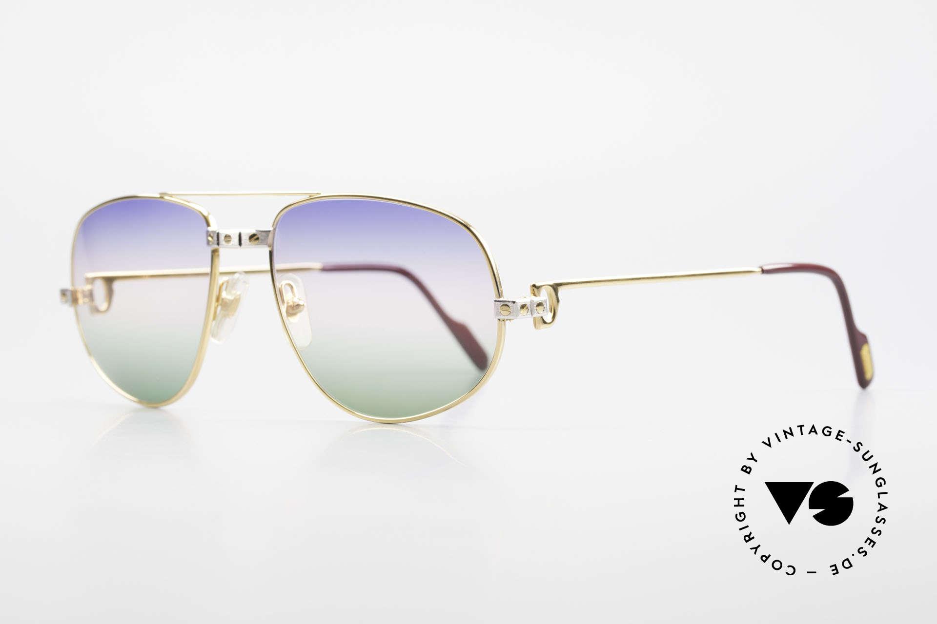 Cartier Romance Santos - L 80s Luxury Vintage Sunglasses, this pair (with SANTOS decor) is LARGE size 58-18, 140, Made for Men