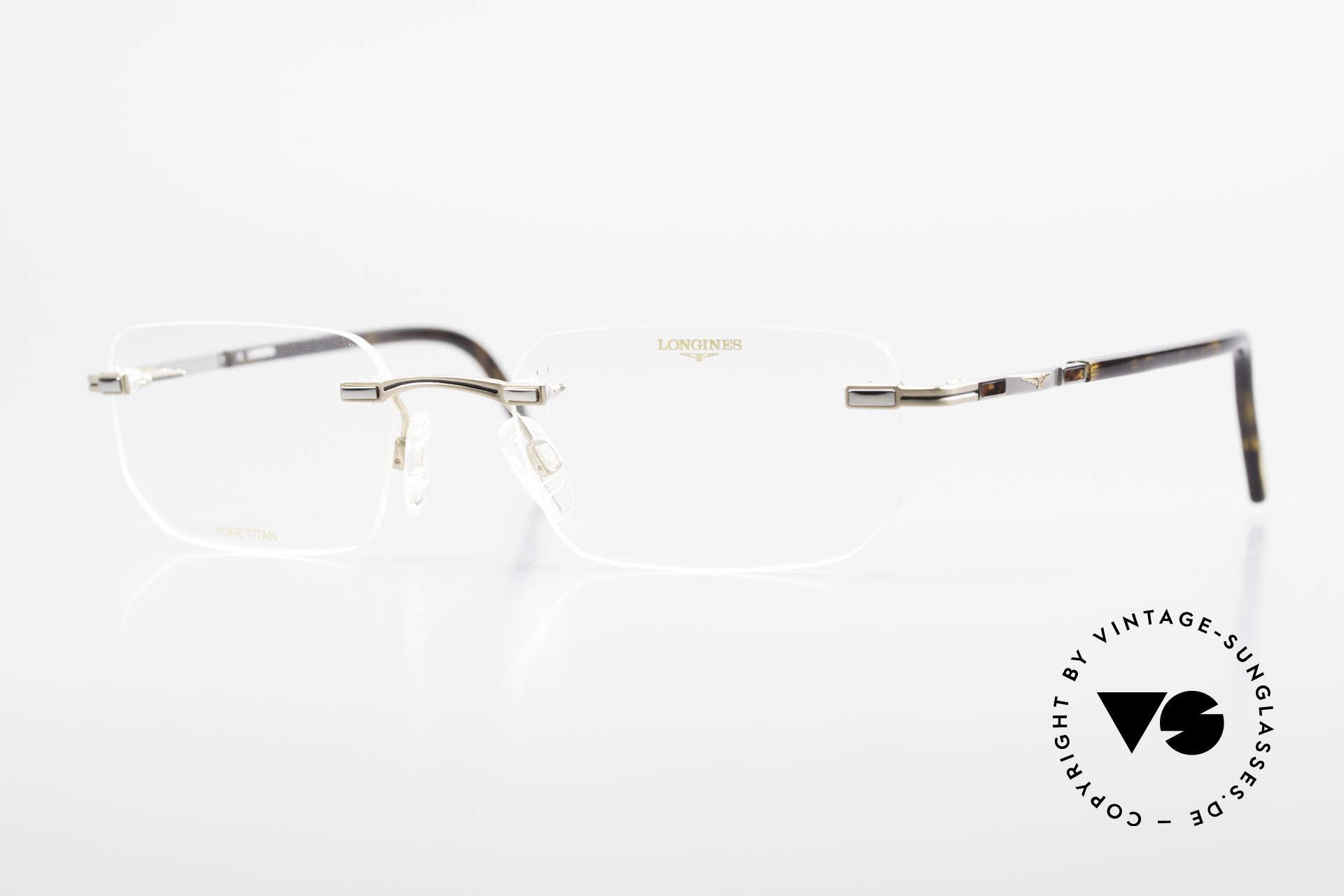 Longines 4238 90's Rimless Glasses Pure Titan, rimless 1990's eyeglases; Pure Titan men's glasses, Made for Men