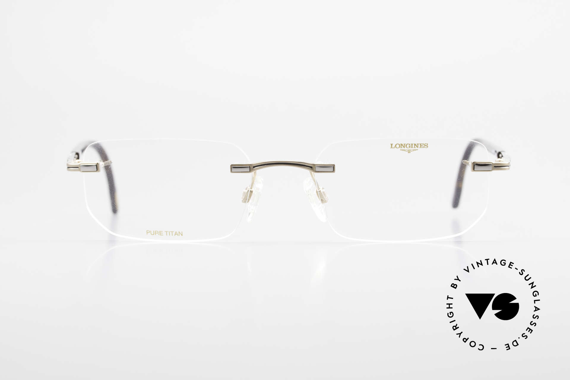 Longines 4238 90's Rimless Glasses Pure Titan, full frame shows with many small quality features, Made for Men