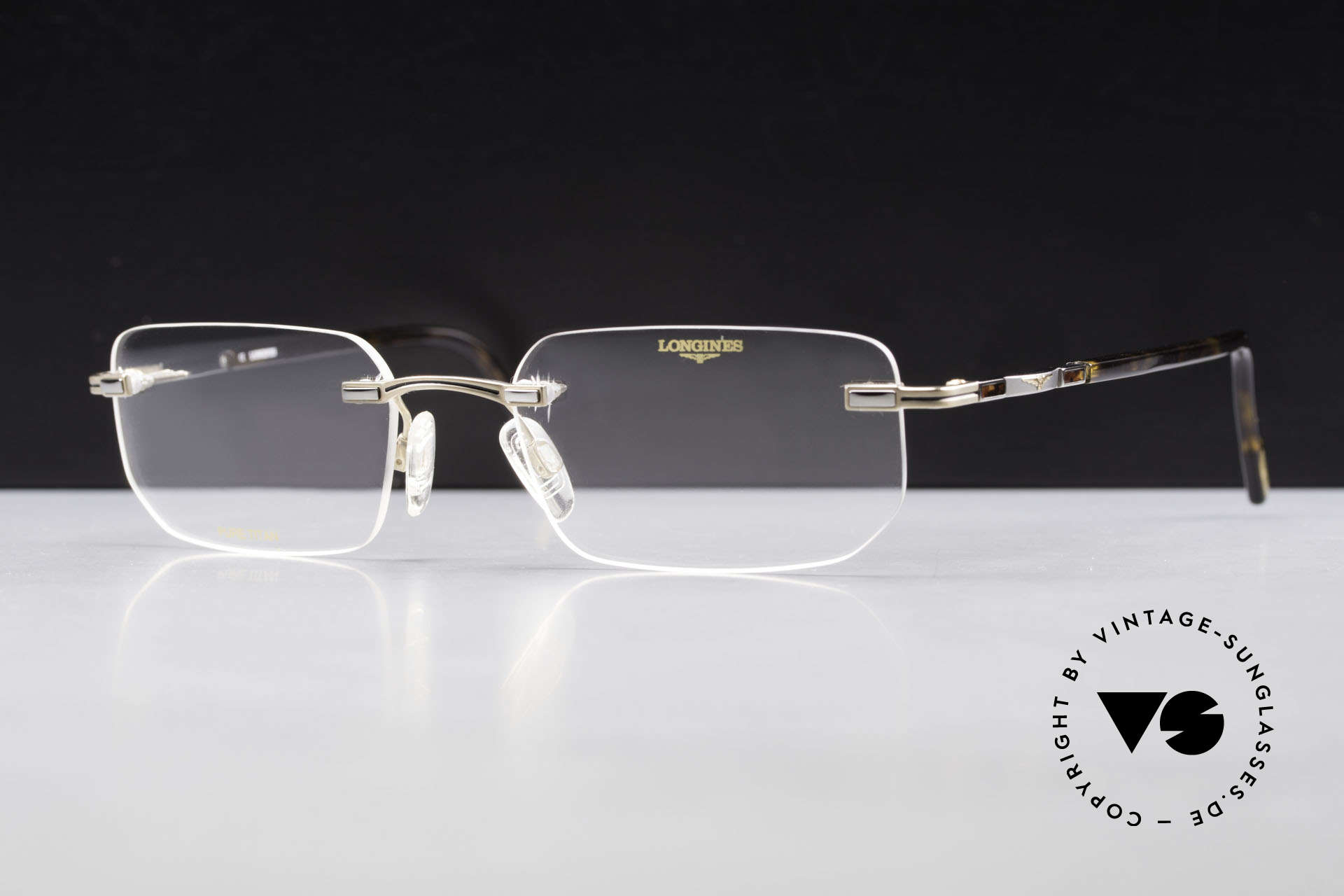 Longines 4238 90's Rimless Glasses Pure Titan, Longines logo, the winged hourglass, on the temples, Made for Men