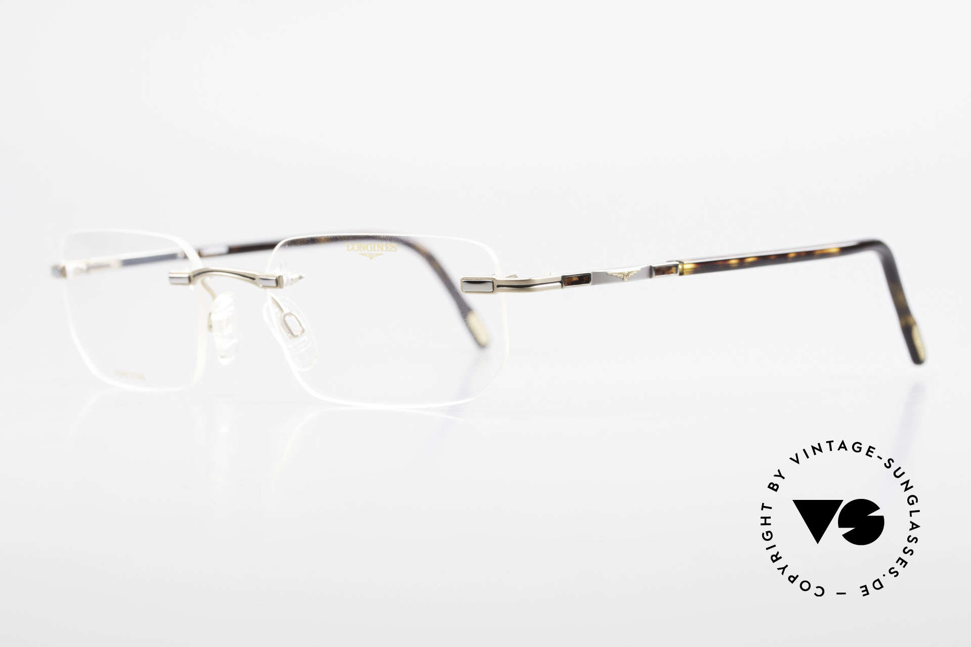 Longines 4238 90's Rimless Glasses Pure Titan, a timeless OLD ORIGINAL in titan/gold and tortoise, Made for Men