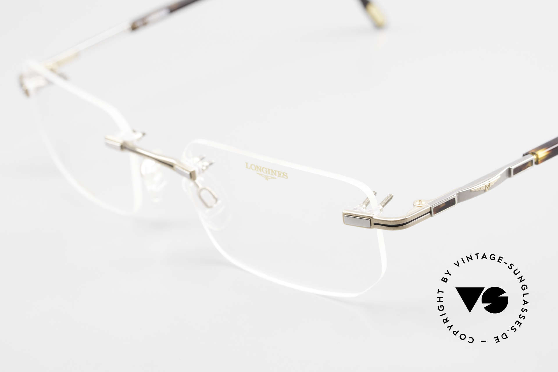 Longines 4238 90's Rimless Glasses Pure Titan, never worn (like all our 90's rimless eyeglass-frames), Made for Men