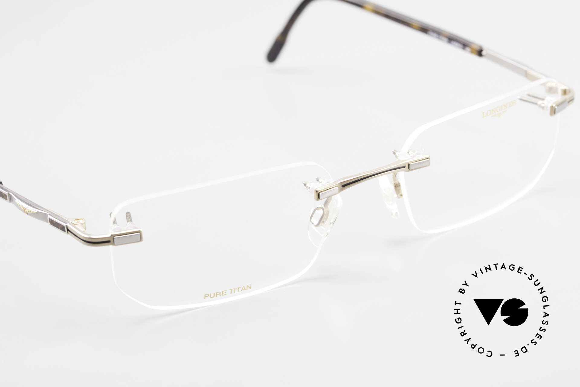Longines 4238 90's Rimless Glasses Pure Titan, the DEMO lenses can be replaced with prescriptions, Made for Men