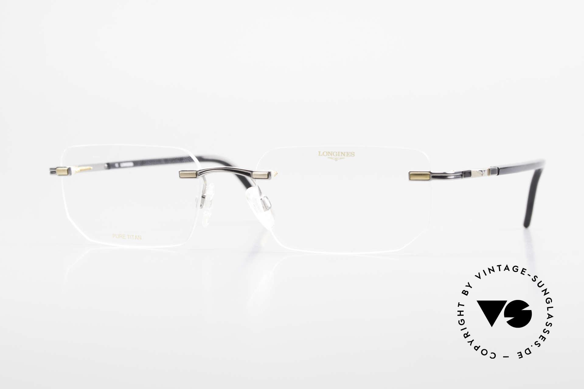 Longines 4238 Rimless 90's Eyeglasses Men, rimless 1990's eyeglases; Pure Titan men's glasses, Made for Men