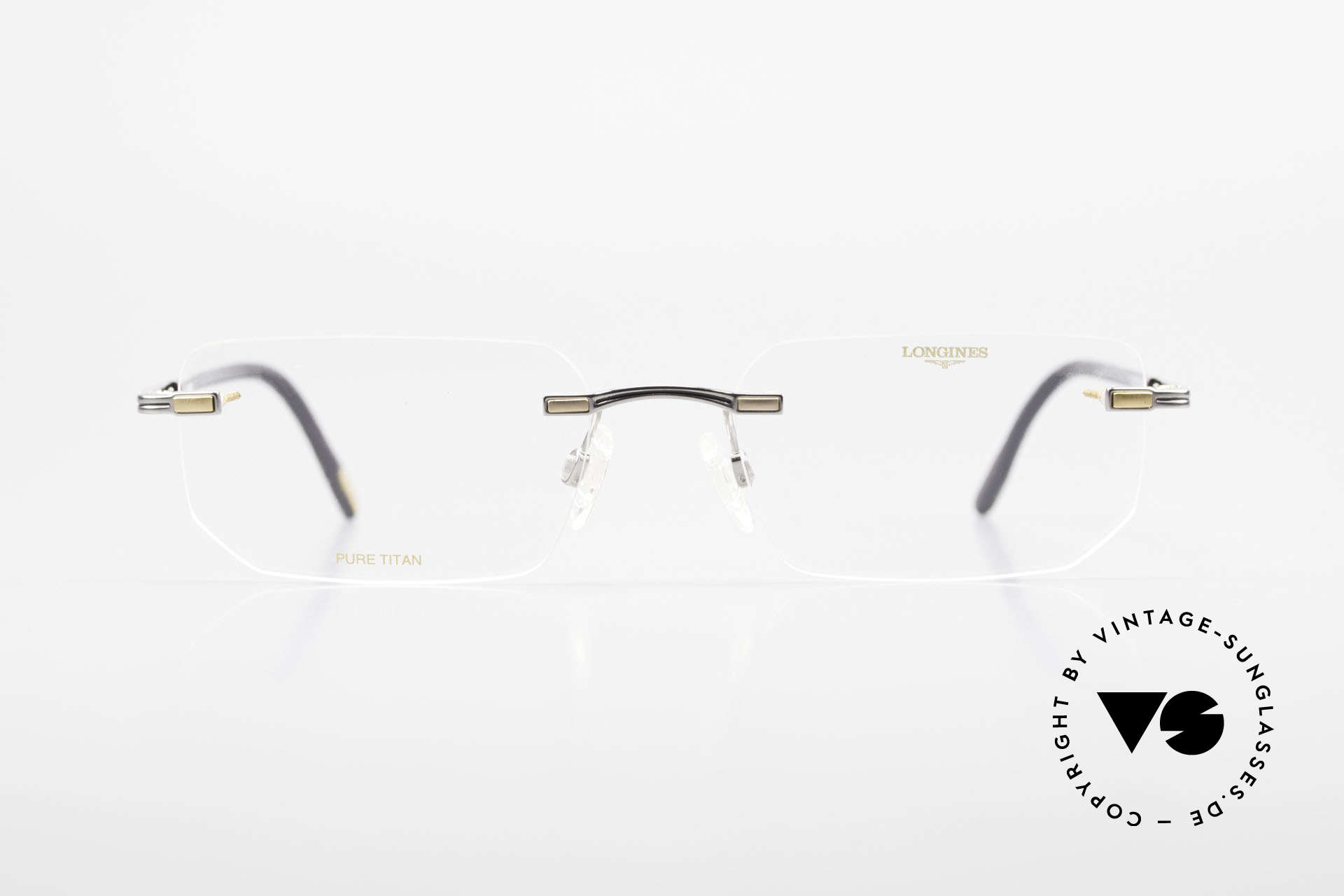 Longines 4238 Rimless 90's Eyeglasses Men, full frame shows with many small quality features, Made for Men