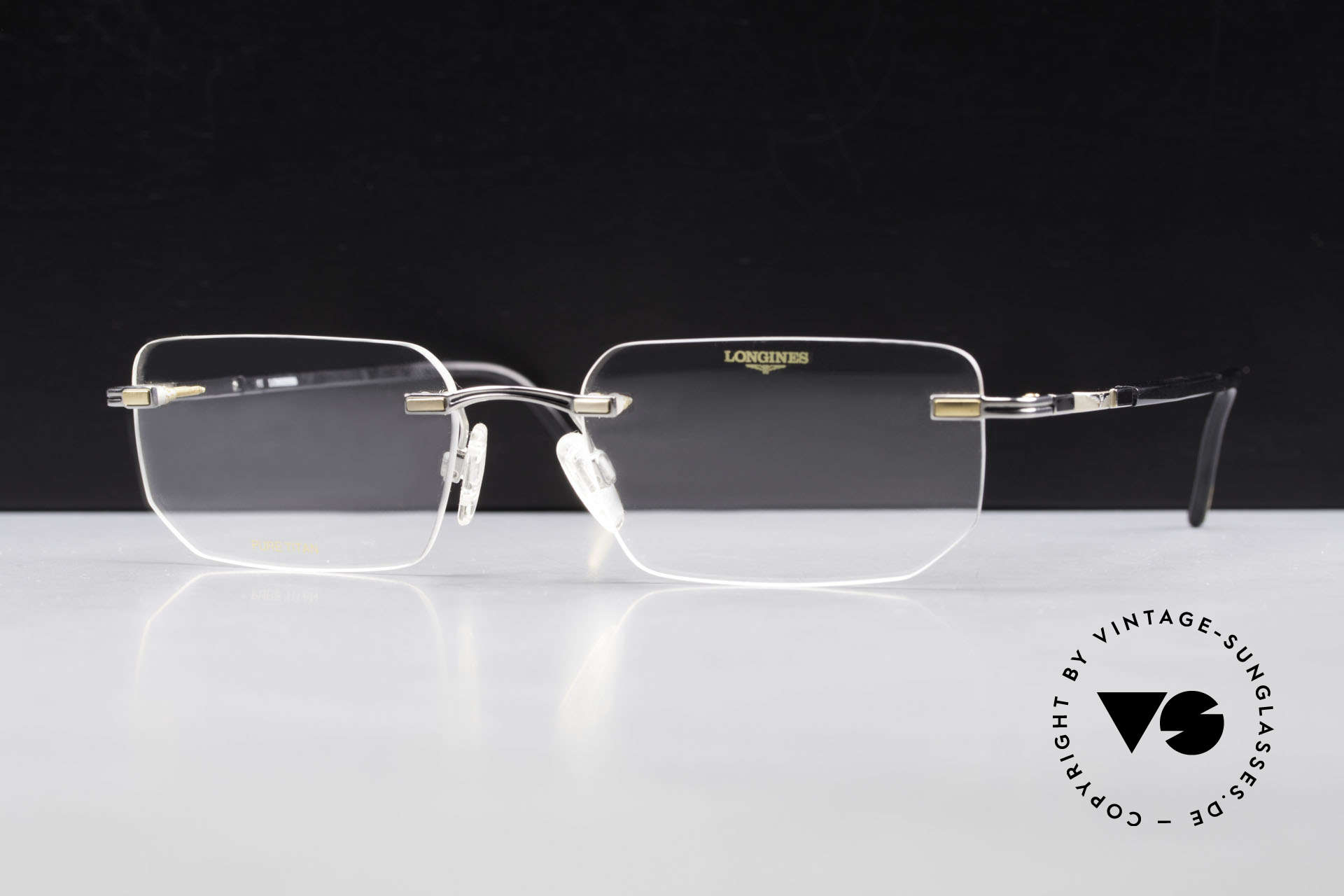 Longines 4238 Rimless 90's Eyeglasses Men, Longines logo, the winged hourglass, on the temples, Made for Men