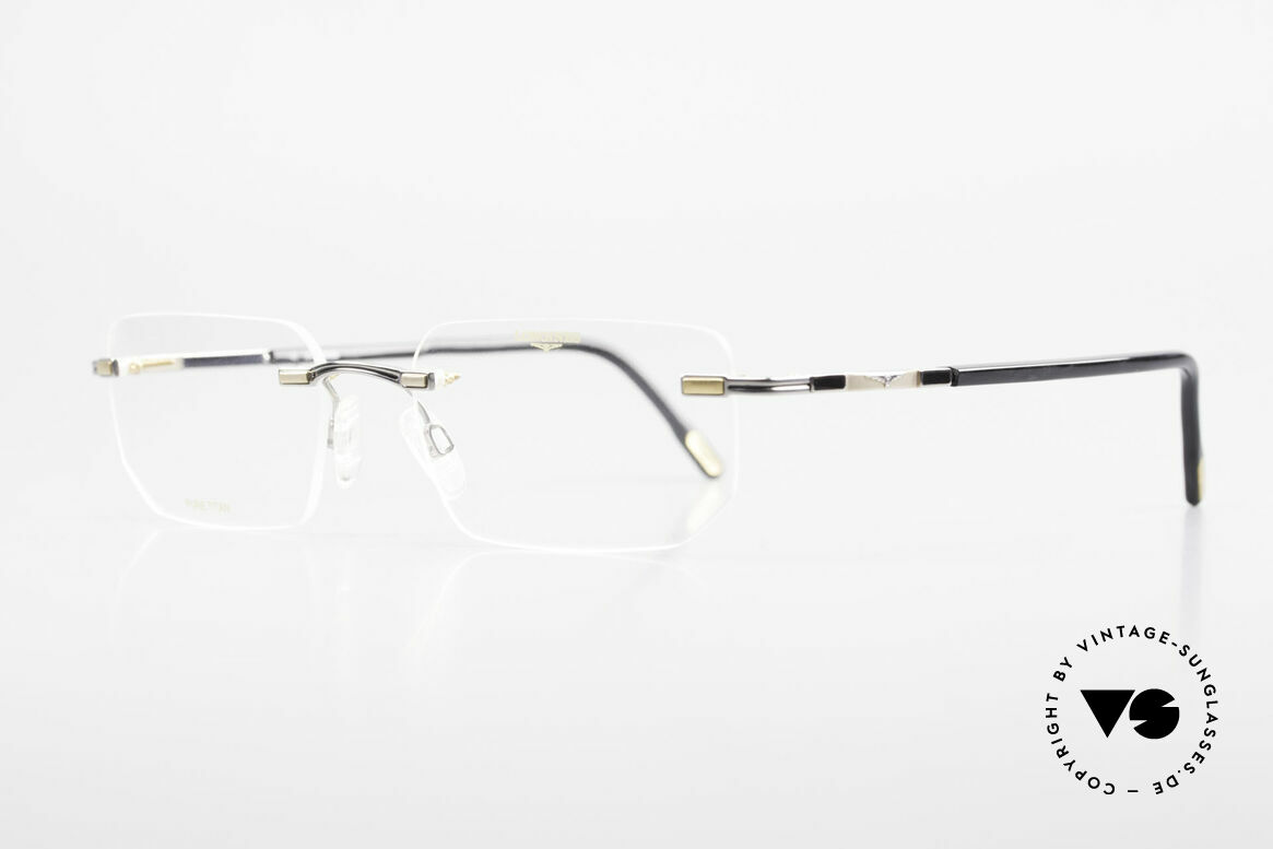 Longines 4238 Rimless 90's Eyeglasses Men, a timeless OLD ORIGINAL in titan/gold & dark gray, Made for Men