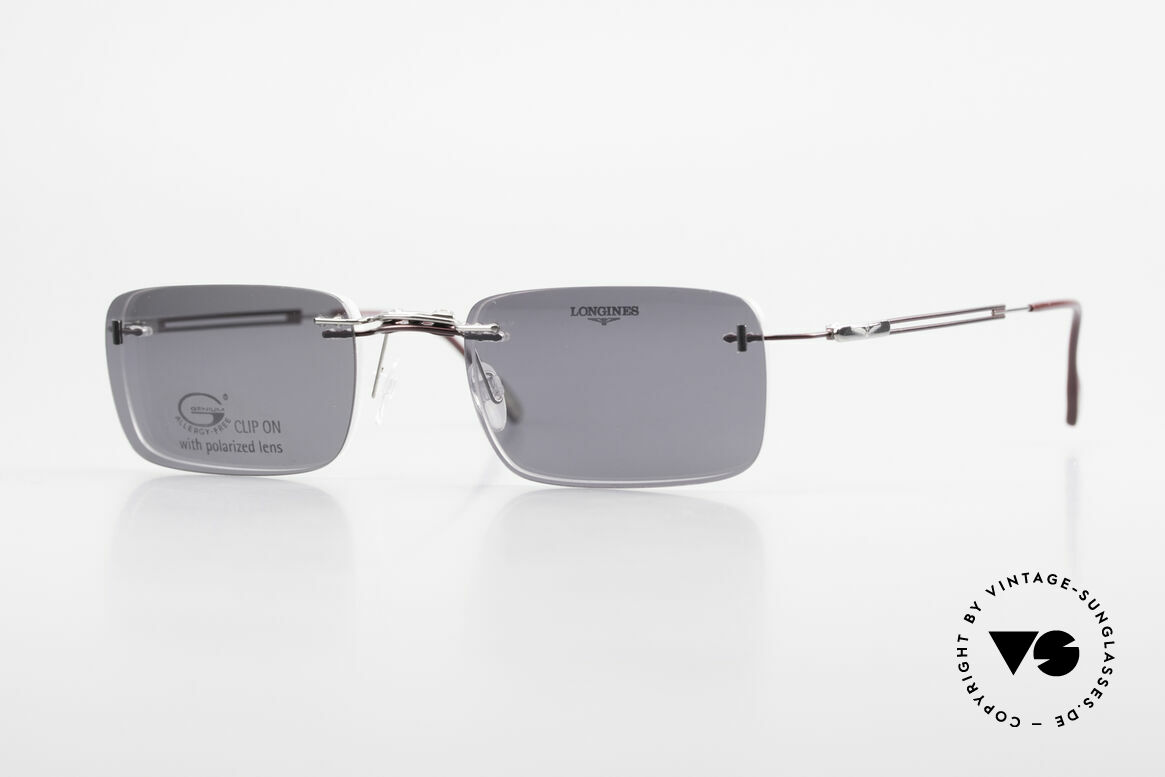 Longines 4367 Rimless Frame Polarized Clip, 90's Longines model 4367 color 512, size 50-21, 135, Made for Men