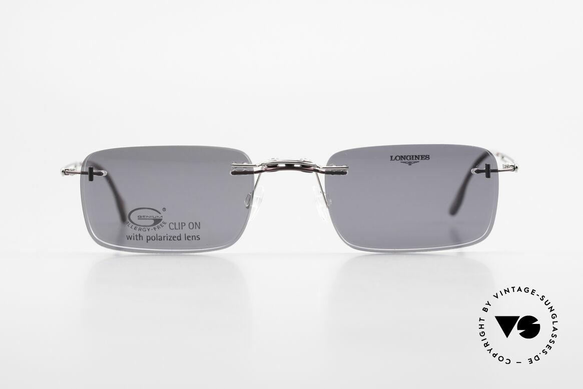 Longines 4367 Rimless Frame Polarized Clip, allergy-free, rimless 90's eyeglass-frame by Longines, Made for Men