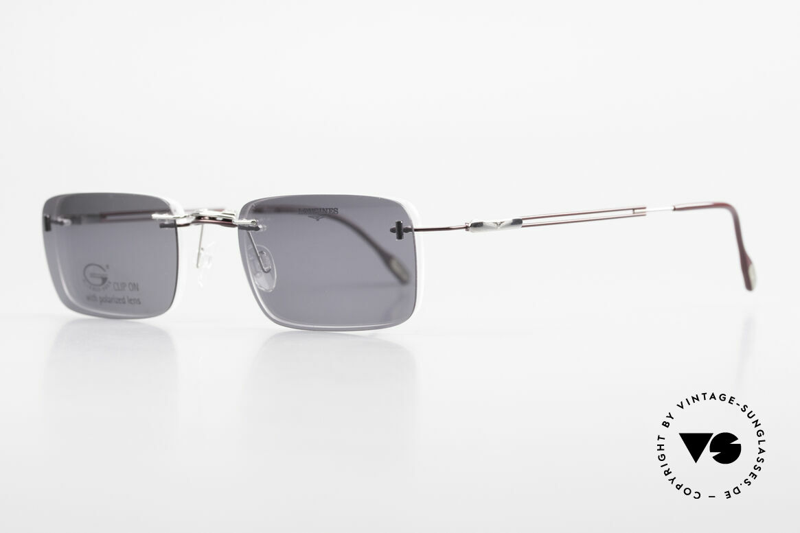 Longines 4367 Rimless Frame Polarized Clip, Clip-On with gray polarized lenses; 100% UV protect., Made for Men