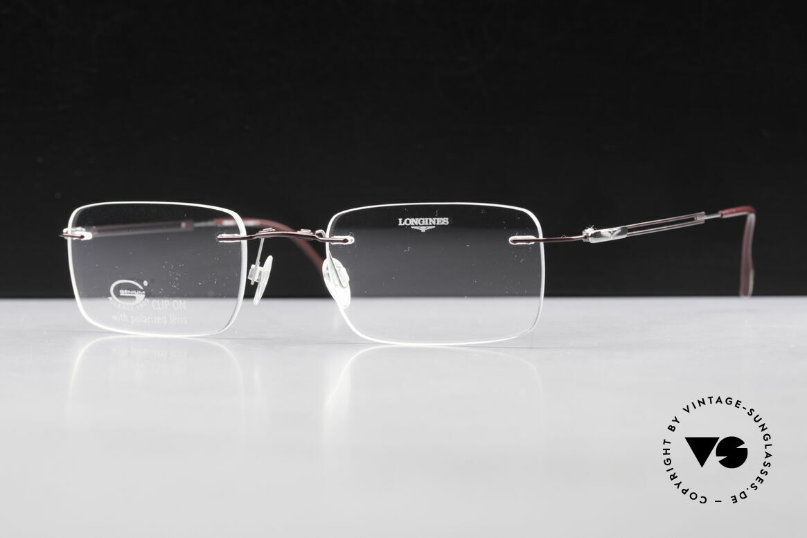 Longines 4367 Rimless Frame Polarized Clip, Longines logo, the winged hourglass, on the temples, Made for Men