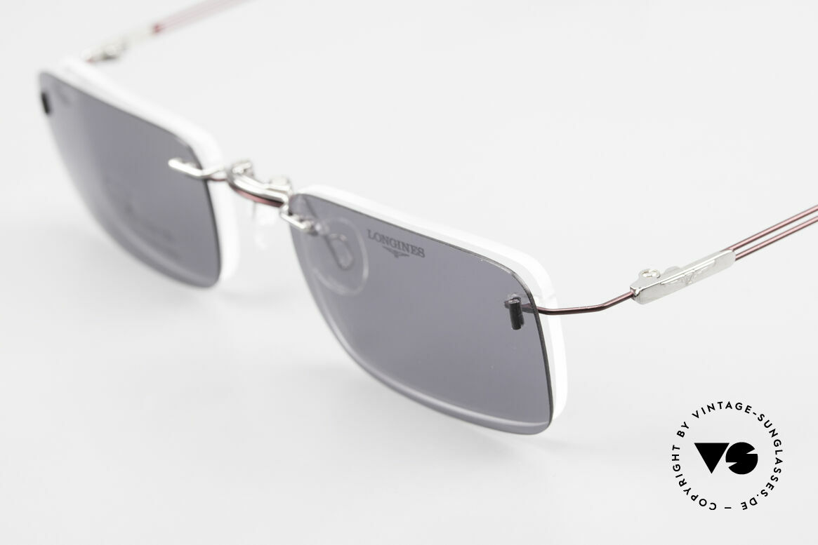 Longines 4367 Rimless Frame Polarized Clip, never worn (like all our 90's rimless eyeglass-frames), Made for Men