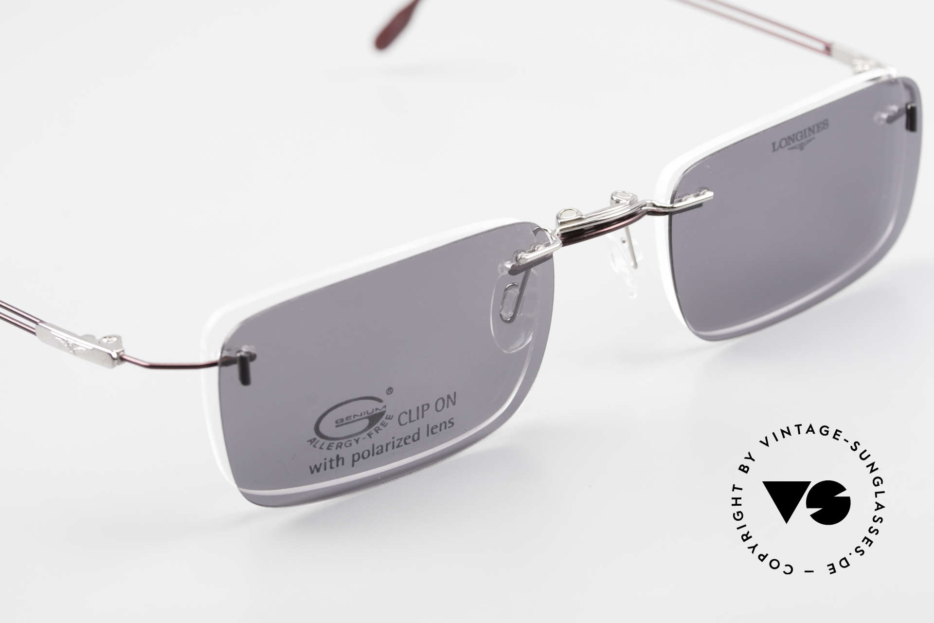 Longines 4367 Rimless Frame Polarized Clip, the frame can be glazed with optical lenses of any kind, Made for Men
