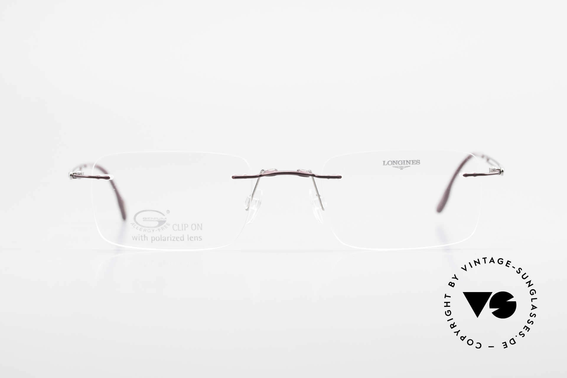 Longines 4367 Rimless Frame Polarized Clip, Size: medium, Made for Men