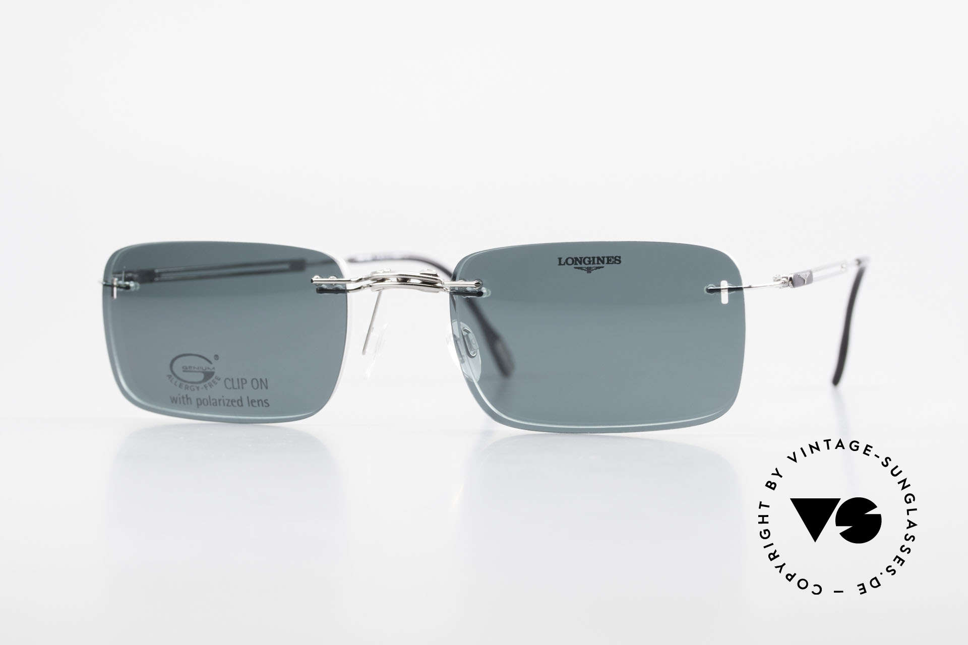 Longines 4367 Rimless Specs Polarized Clip, 90's Longines model 4367 color 330, size 53-21, 140, Made for Men