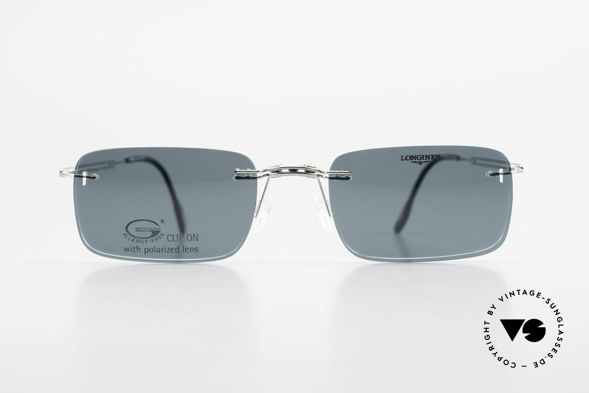 Longines 4367 Rimless Specs Polarized Clip, allergy-free, rimless 90's eyeglass-frame by Longines, Made for Men
