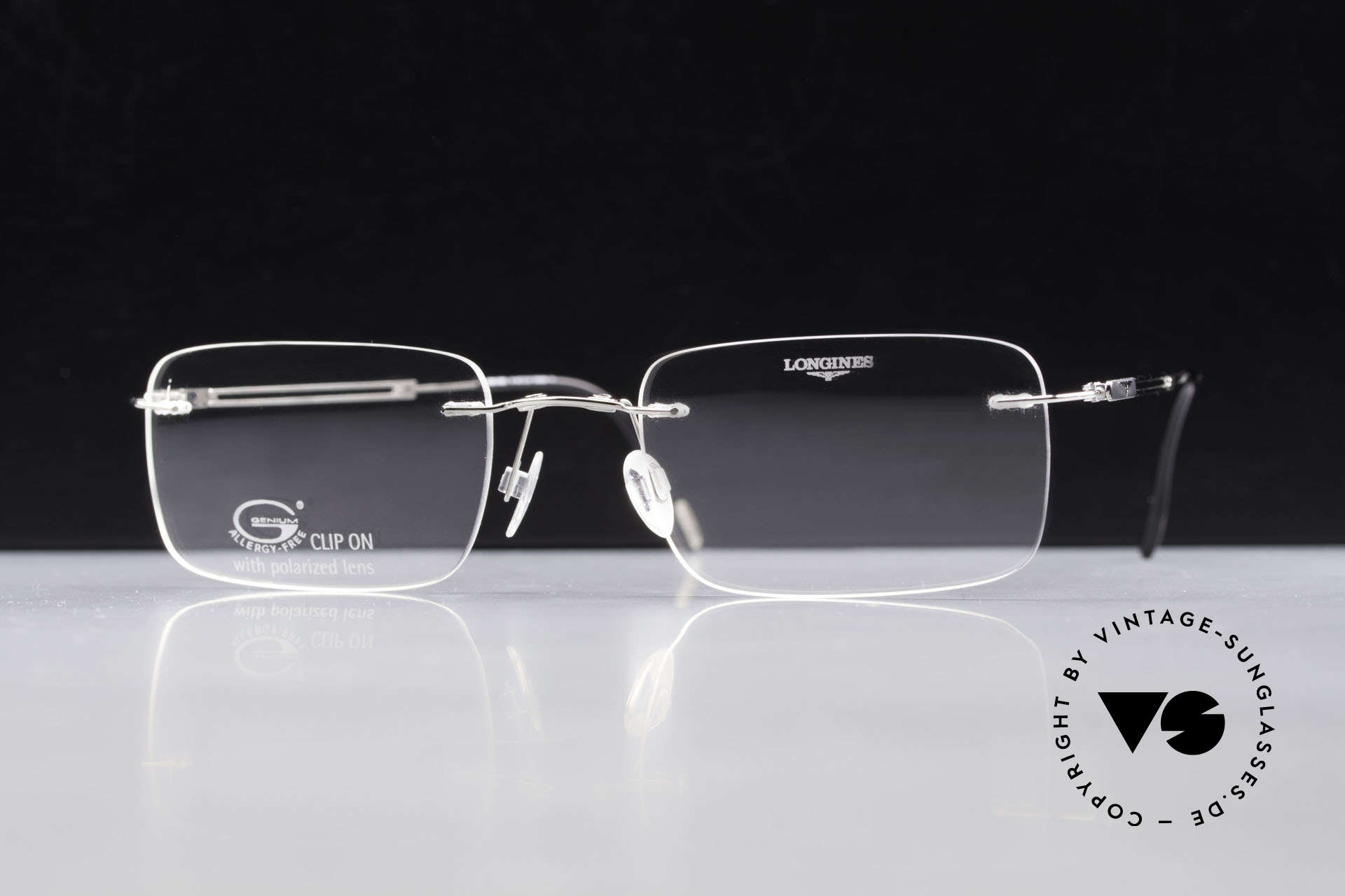Longines 4367 Rimless Specs Polarized Clip, Clip-On with green polarized lenses; 100% UV protect., Made for Men