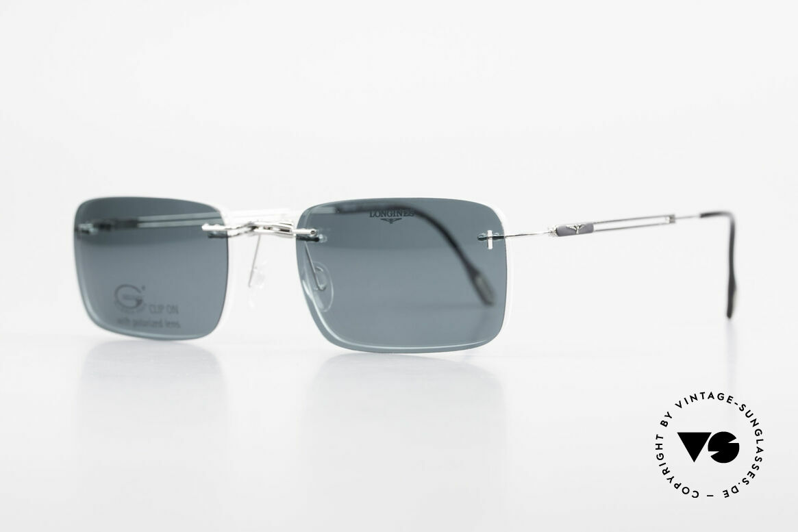 Longines 4367 Rimless Specs Polarized Clip, Longines logo, the winged hourglass, on the temples, Made for Men