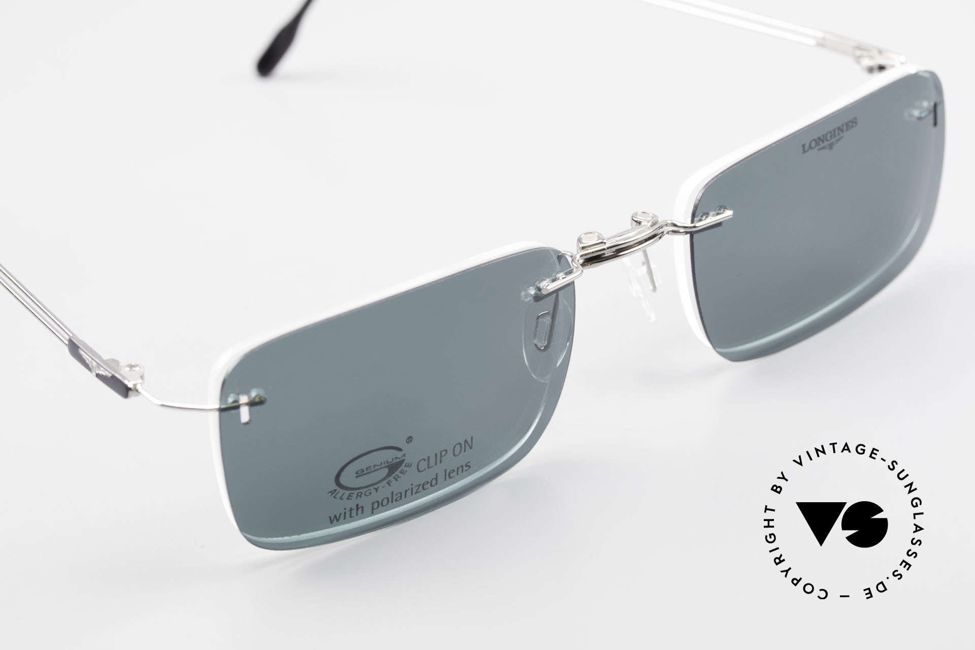 Longines 4367 Rimless Specs Polarized Clip, the frame can be glazed with optical lenses of any kind, Made for Men