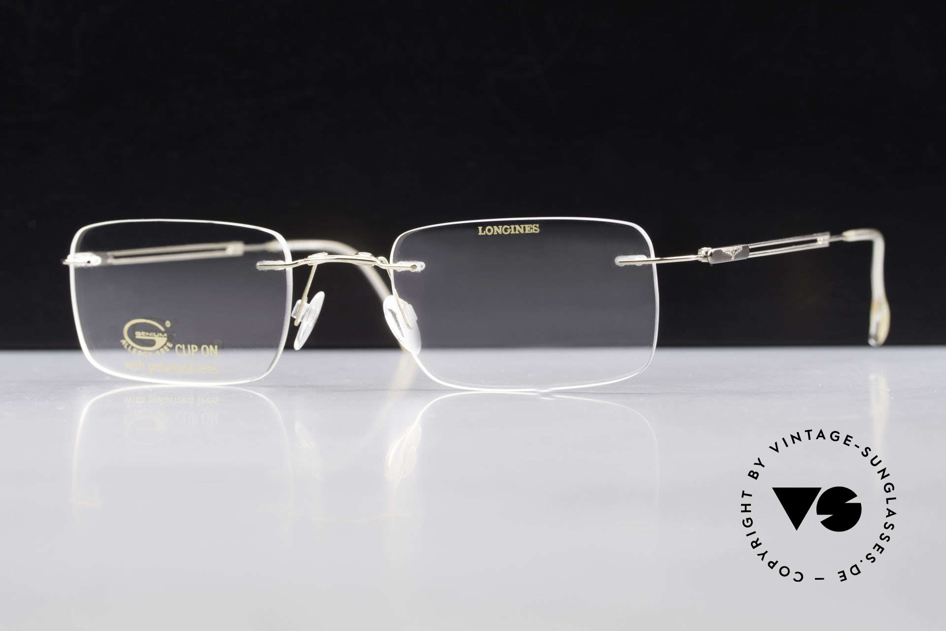 Longines 4367 Polarized Glasses Rimless 90s, Clip-On with green polarized lenses; 100% UV protect., Made for Men